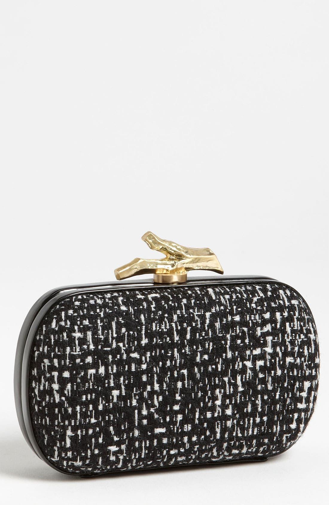 Main Image - Diane von Furstenberg 'Lytton - Small' Tweed & Leather Clutch