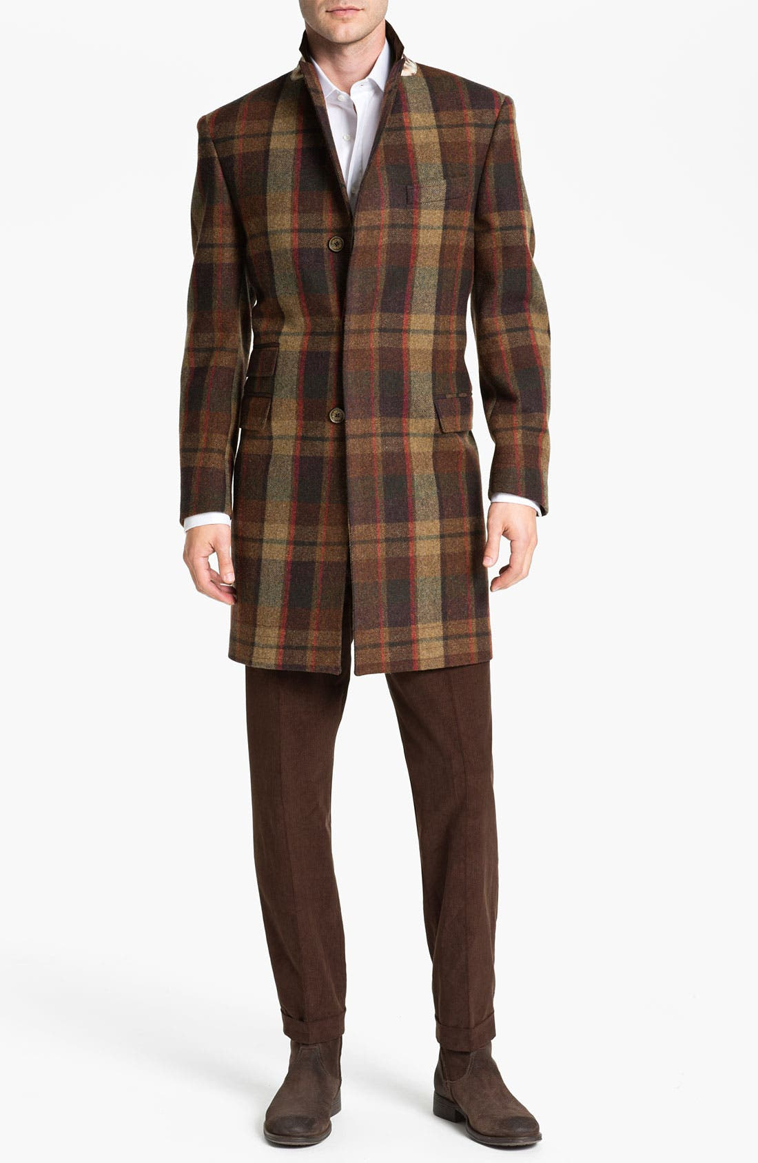 Main Image - Ted Baker London 'Global' Trim Fit Plaid Top Coat (Online Exclusive)
