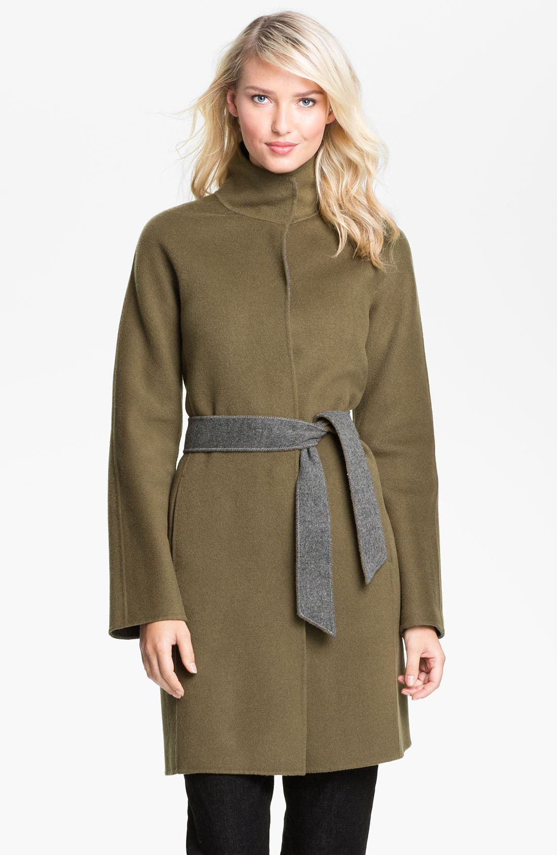 Main Image - Eileen Fisher High Collar Belted Coat