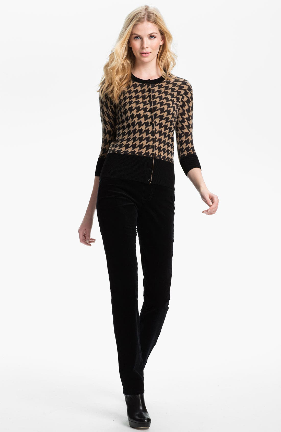 Alternate Image 4  - Only Mine Houndstooth Cashmere Cardigan (Petite)