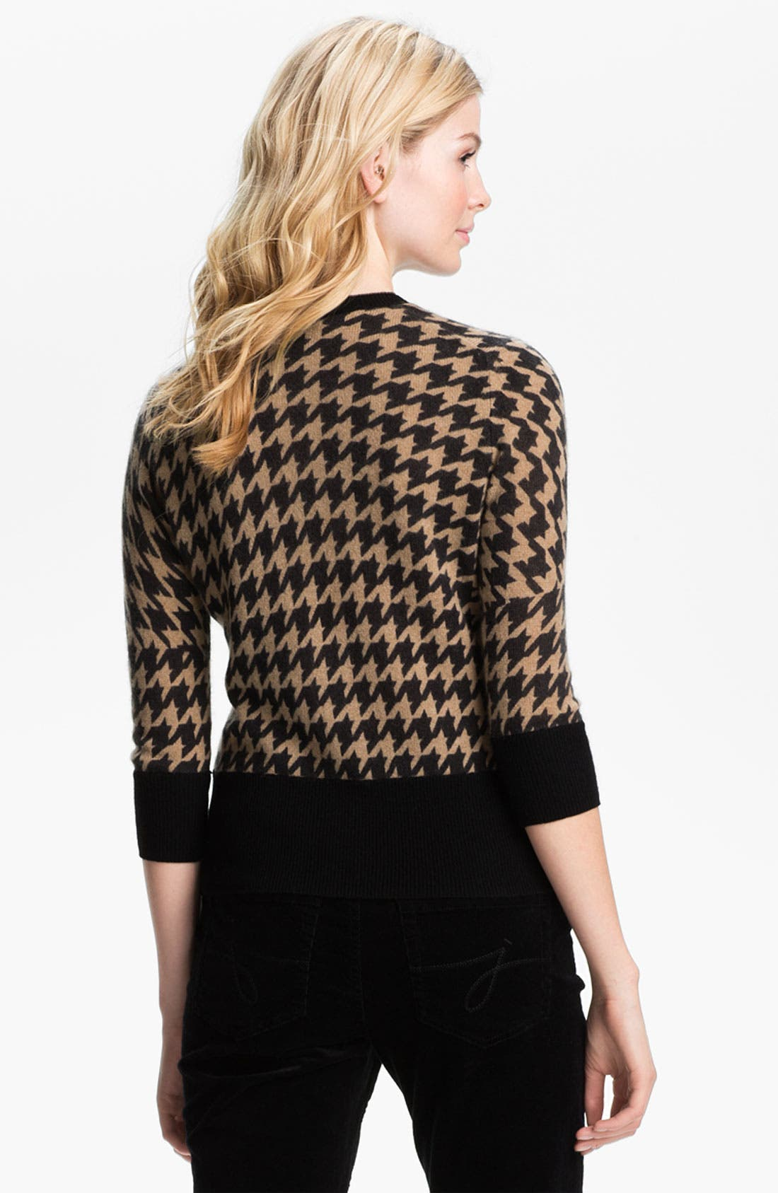 Alternate Image 2  - Only Mine Houndstooth Cashmere Cardigan (Petite)