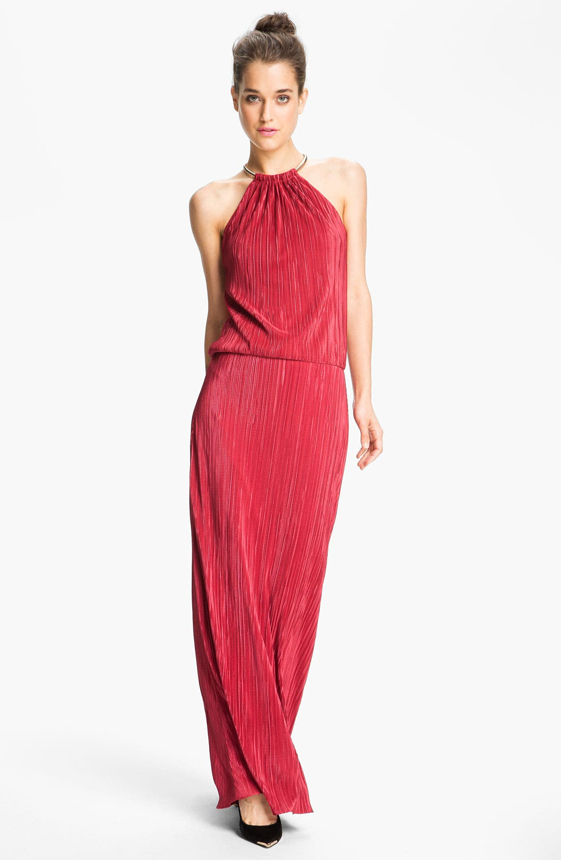 Main Image - Laundry by Shelli Segal Ring Neck Satin Blouson Gown