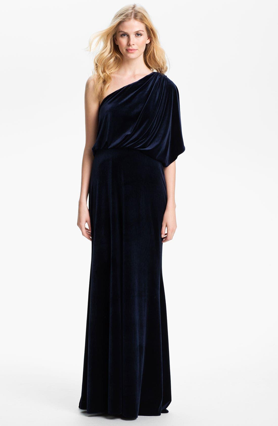 Alternate Image 1 Selected - Adrianna Papell Draped One Shoulder Velvet Blouson Gown