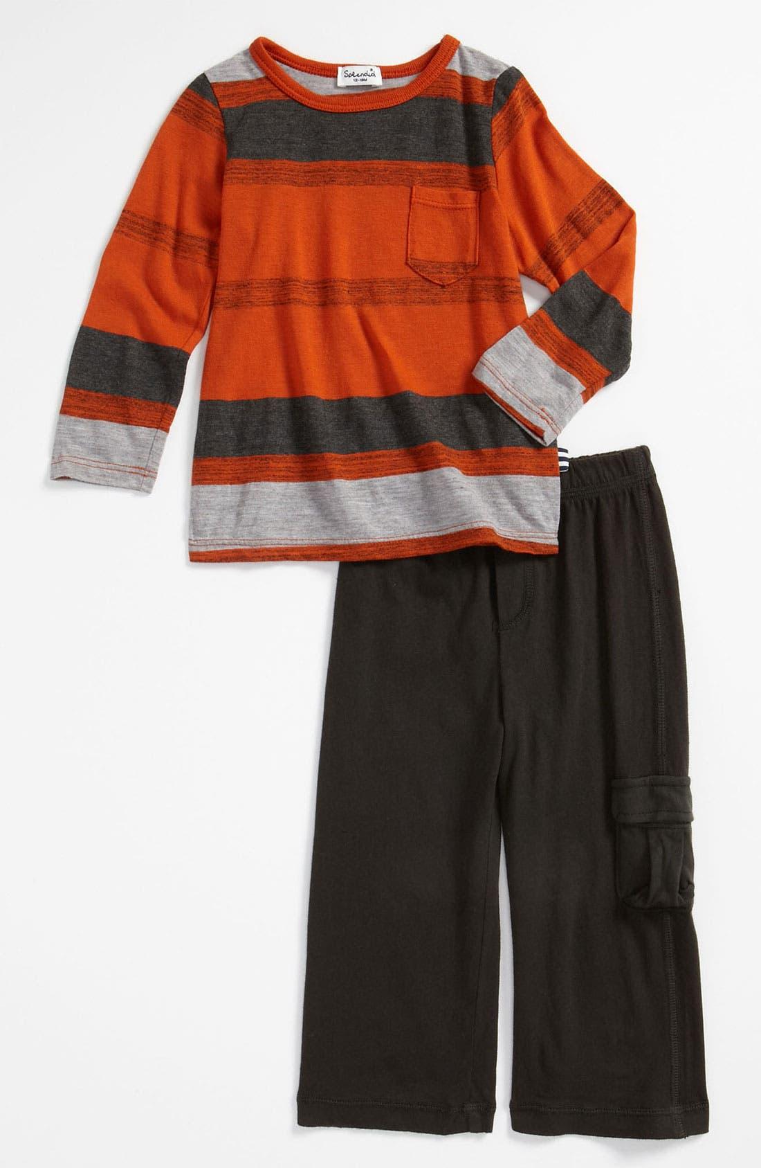 Alternate Image 1 Selected - Splendid 'Rustic Canyon Stripe' T-Shirt & Leggings (Infant)