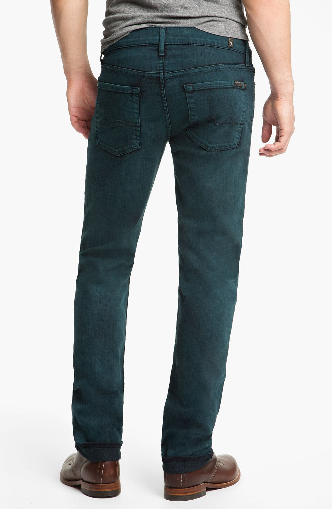 Alternate Image 1 Selected - 7 For All Mankind® 'Slimmy' Slim Straight Leg Jeans (Dark Ivy)