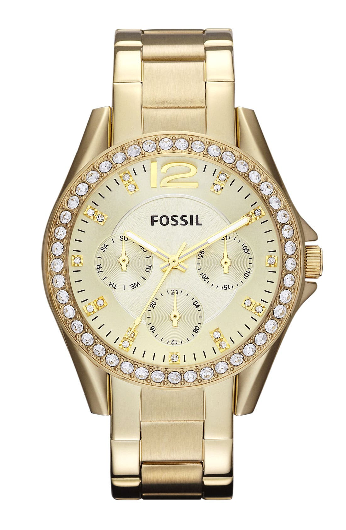 Main Image - Fossil 'Riley' Round Crystal Bezel Bracelet Watch, 38mm