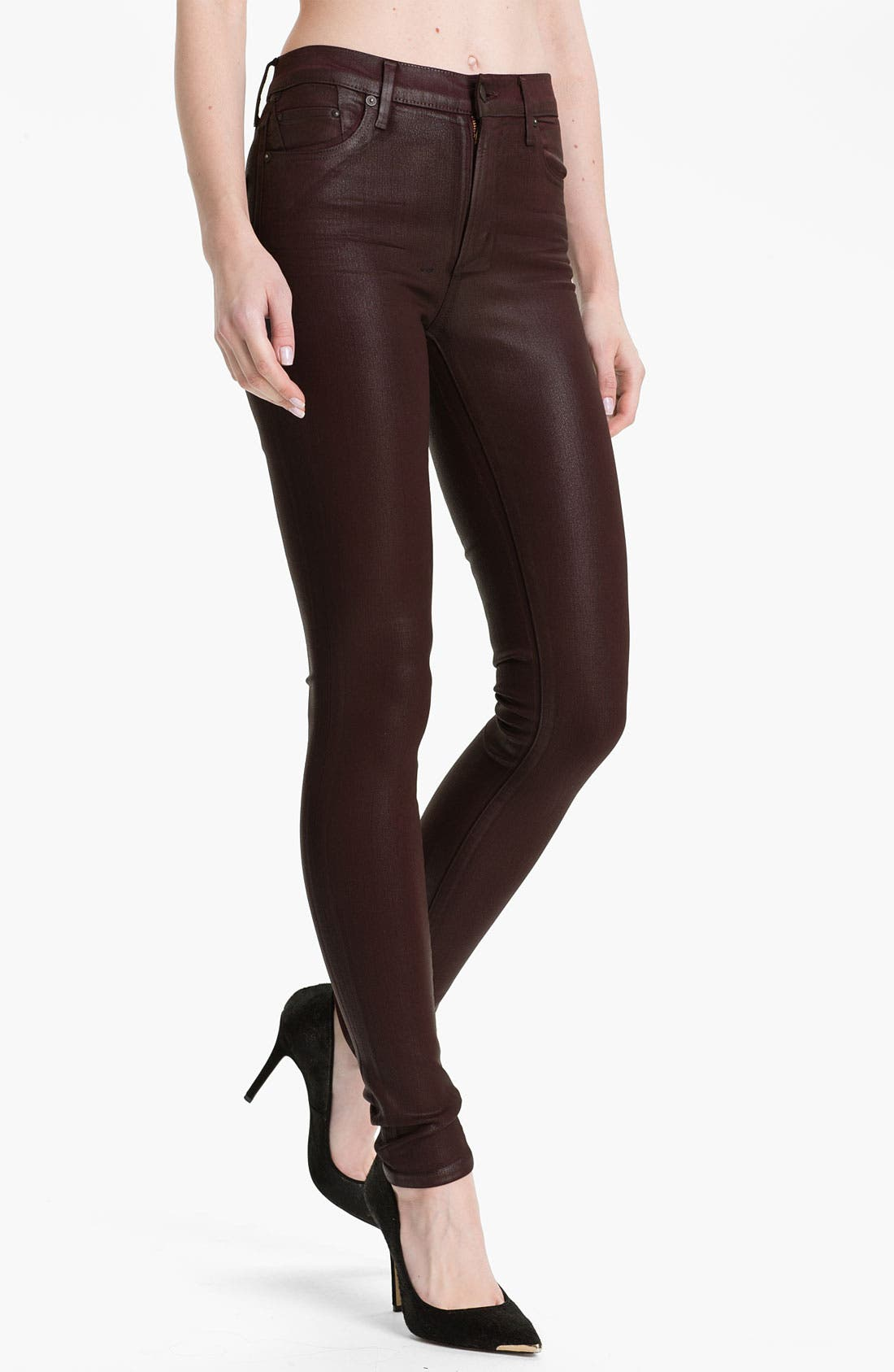 Alternate Image 1 Selected - Citizens of Humanity 'Rocket' Skinny Leatherette Jeans (Lacquer Red)