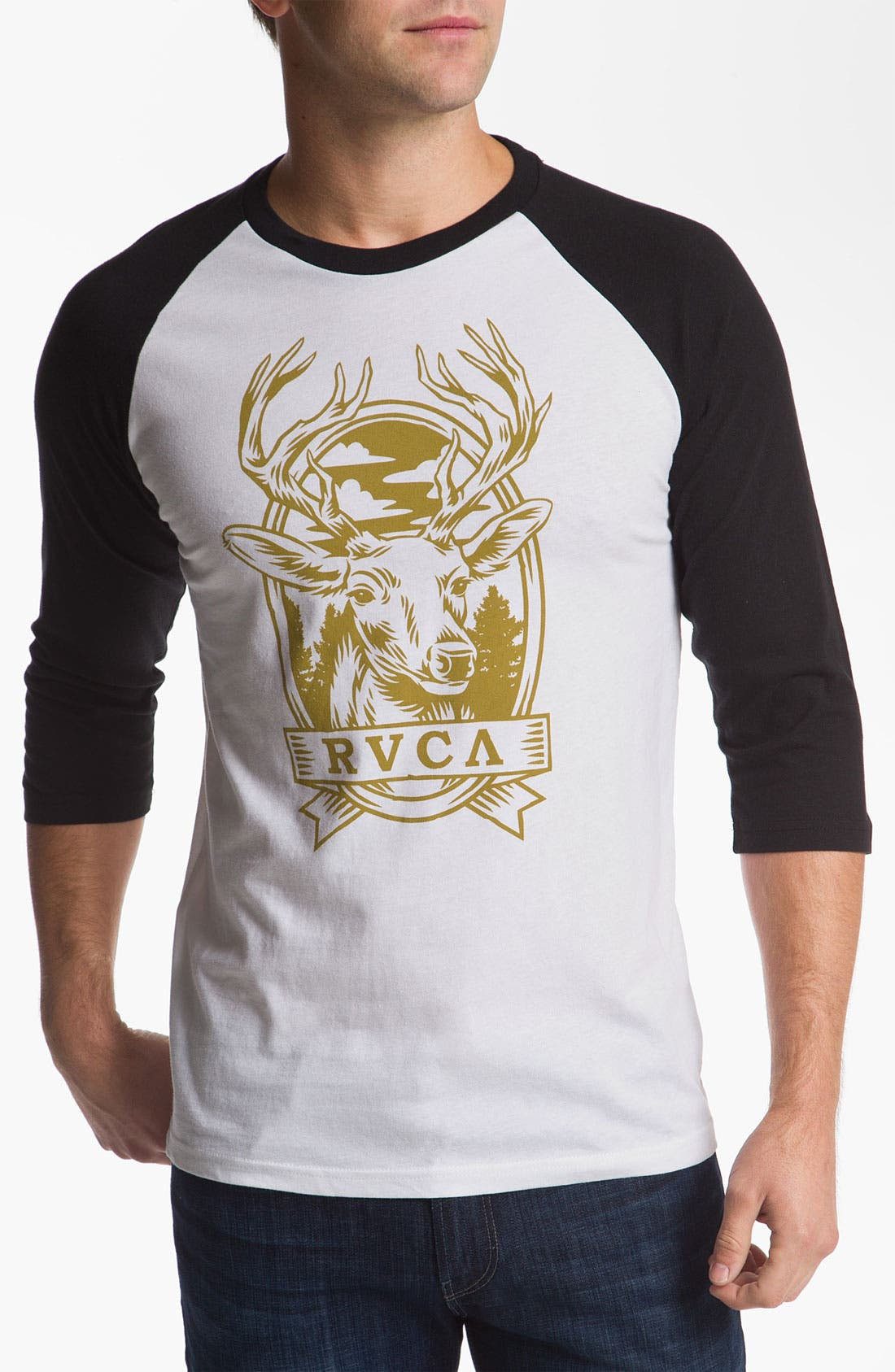 Alternate Image 1 Selected - RVCA 'Deer Hand' Raglan T-Shirt