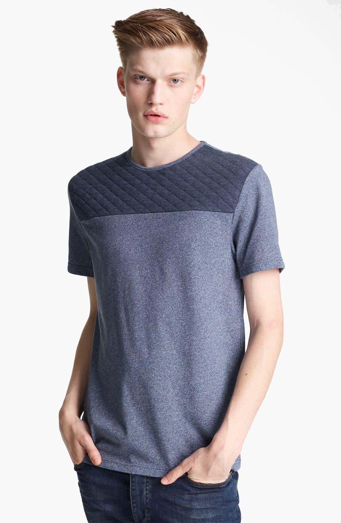 Alternate Image 1 Selected - Topman 'Cut & Sew' Quilted Yoke T-Shirt