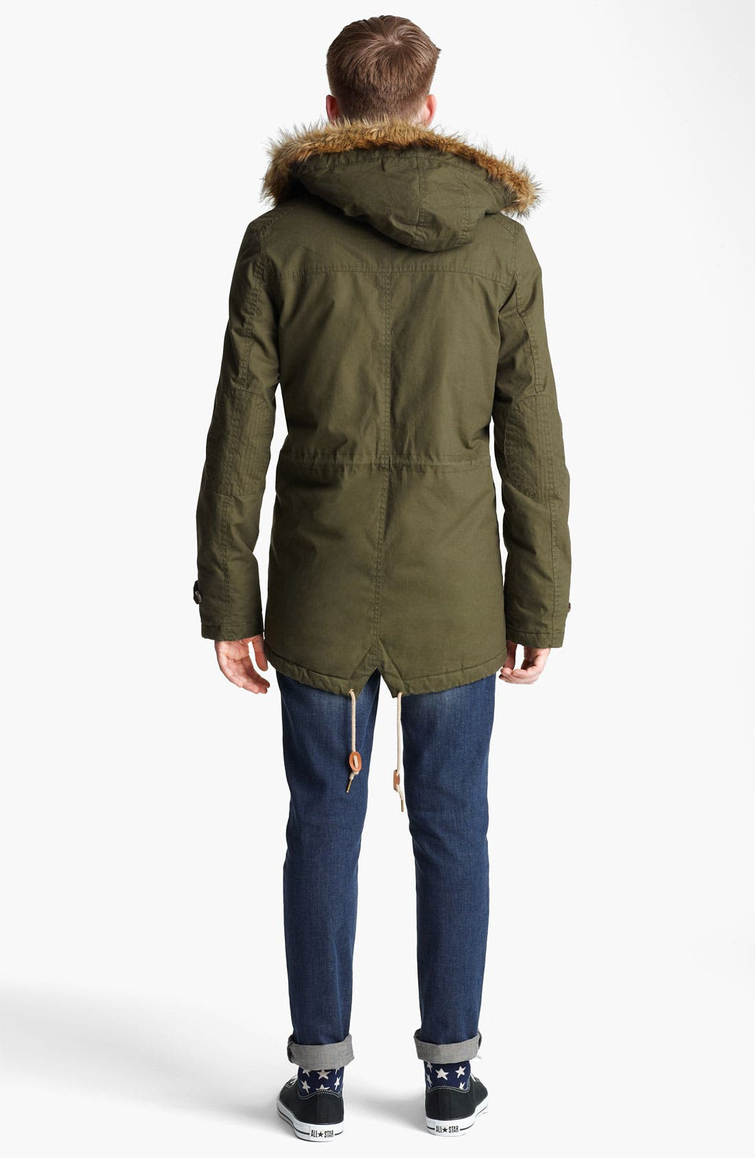 Alternate Image 3  - Topman Hooded Parka with Faux Fur Trim