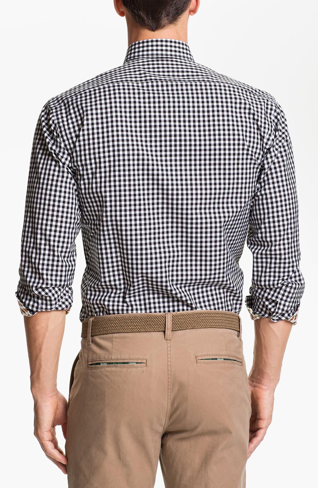 Alternate Image 2  - Thomas Dean 'Oklahoma State' Regular Fit Gingham Sport Shirt