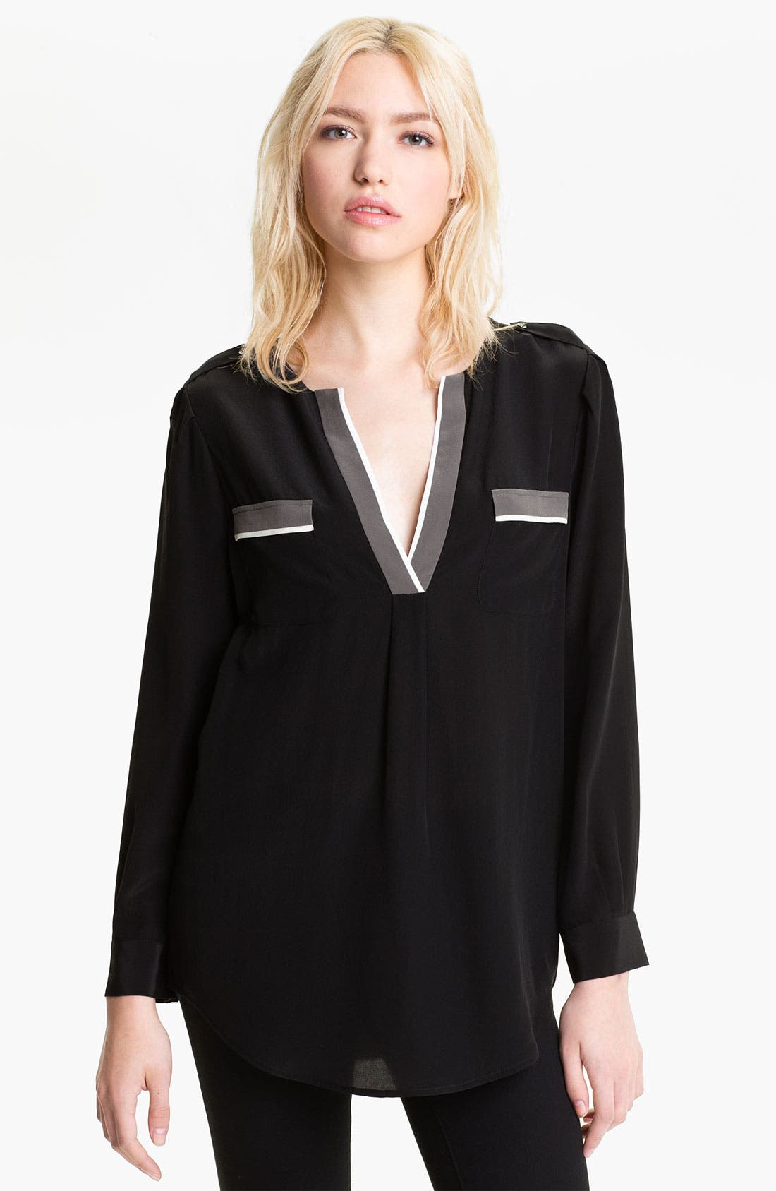 Alternate Image 1 Selected - Joie 'Mystic' Contrast Trim Silk Shirt