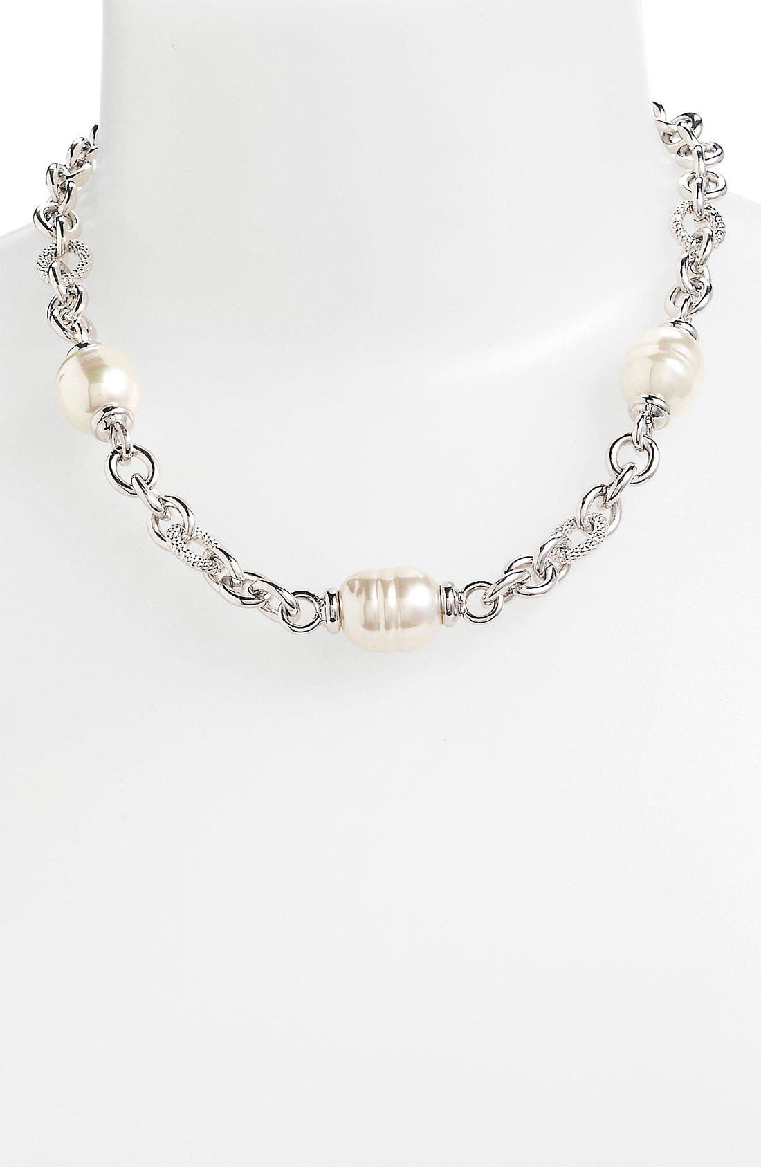 Main Image - Majorica 12mm Baroque Pearl Link Necklace