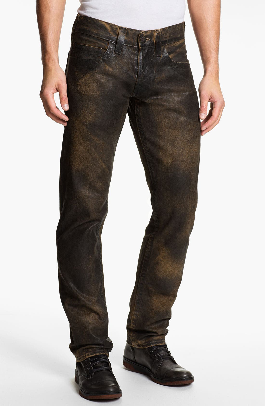 Alternate Image 2  - True Religion Brand Jeans 'Geno' Tapered Straight Leg Jeans (Crackle Coated Black Vintage)