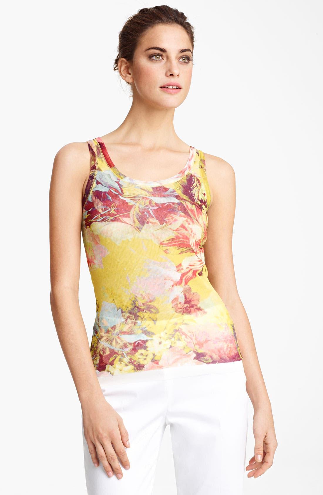 Main Image - Jean Paul Gaultier Fuzzi Flower Print Tulle Tank