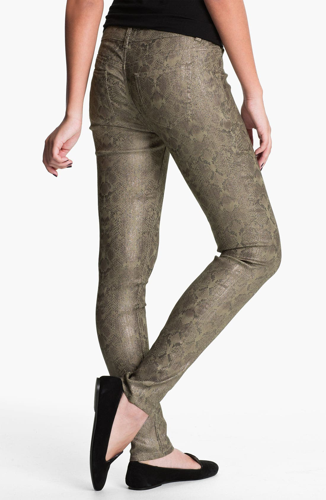 Alternate Image 1 Selected - Fire Metallic Snake Print Skinny Jeans (Juniors)