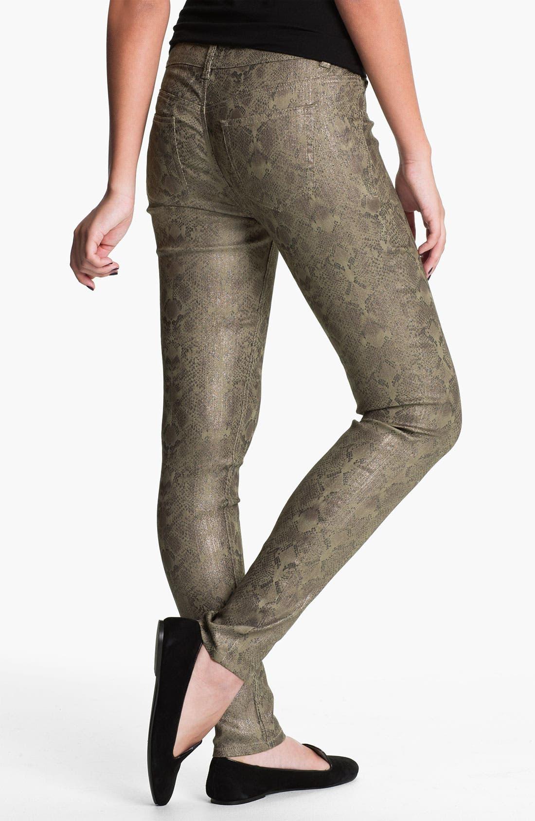 Main Image - Fire Metallic Snake Print Skinny Jeans (Juniors)