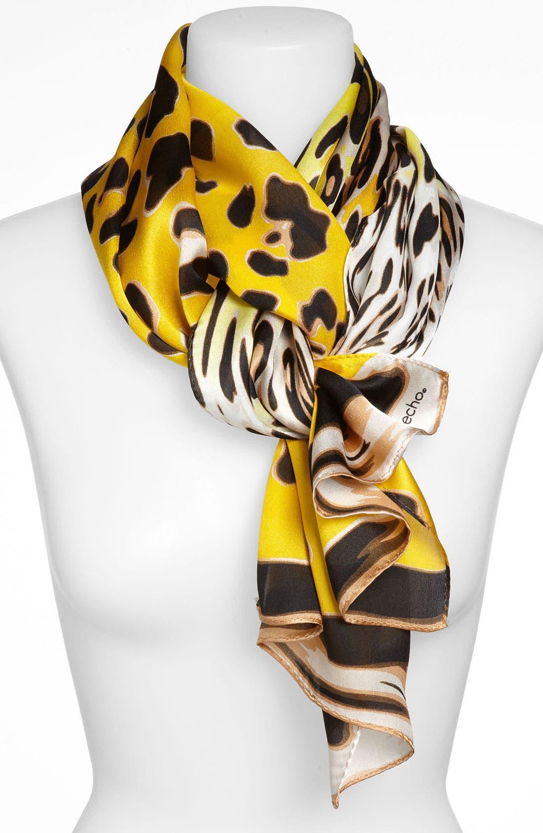 Main Image - Echo Ombré Cheetah Print Silk Scarf