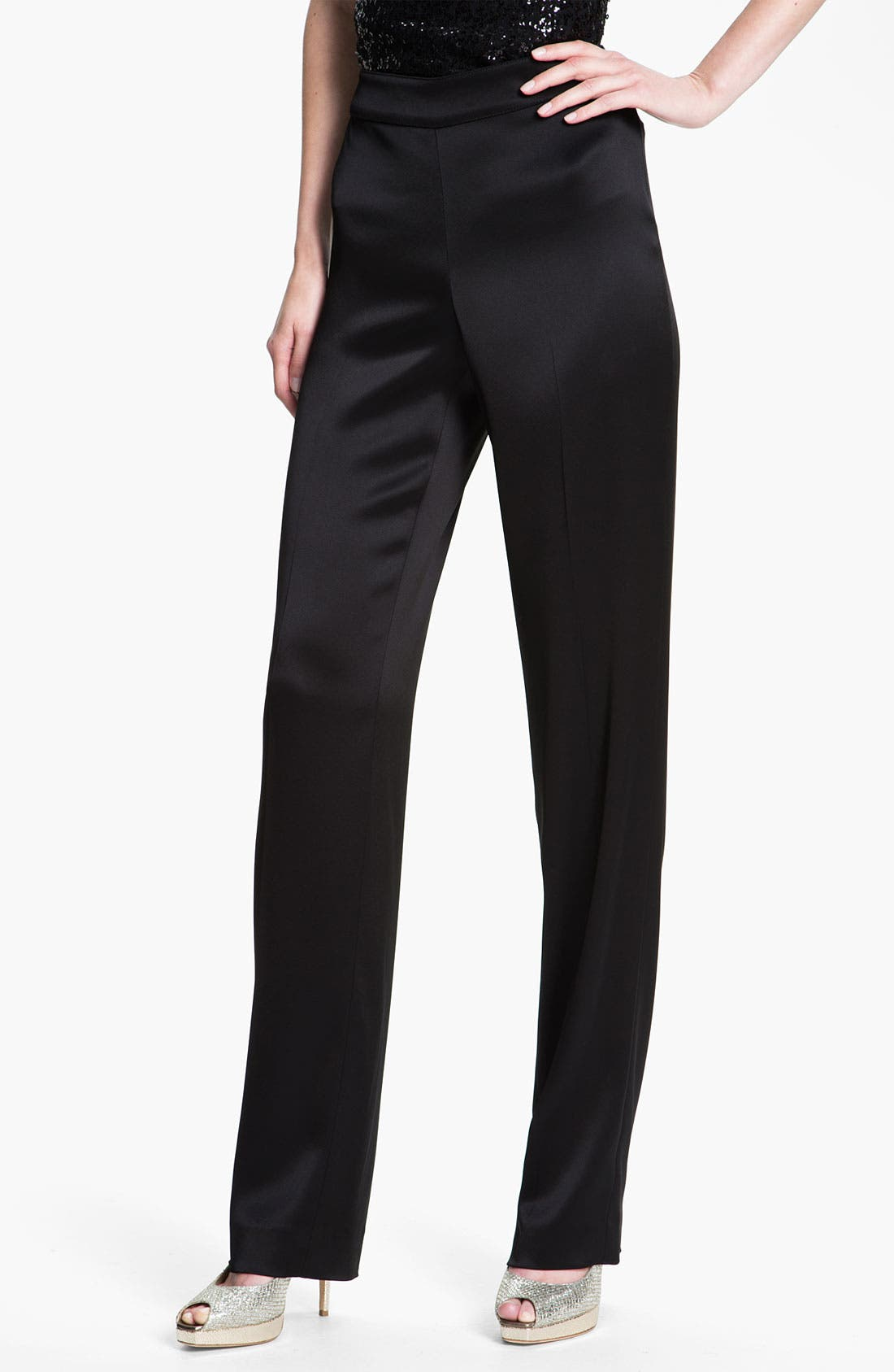 Alternate Image 2  - St. John Collection 'Diana' Straight Leg Liquid Satin Pants