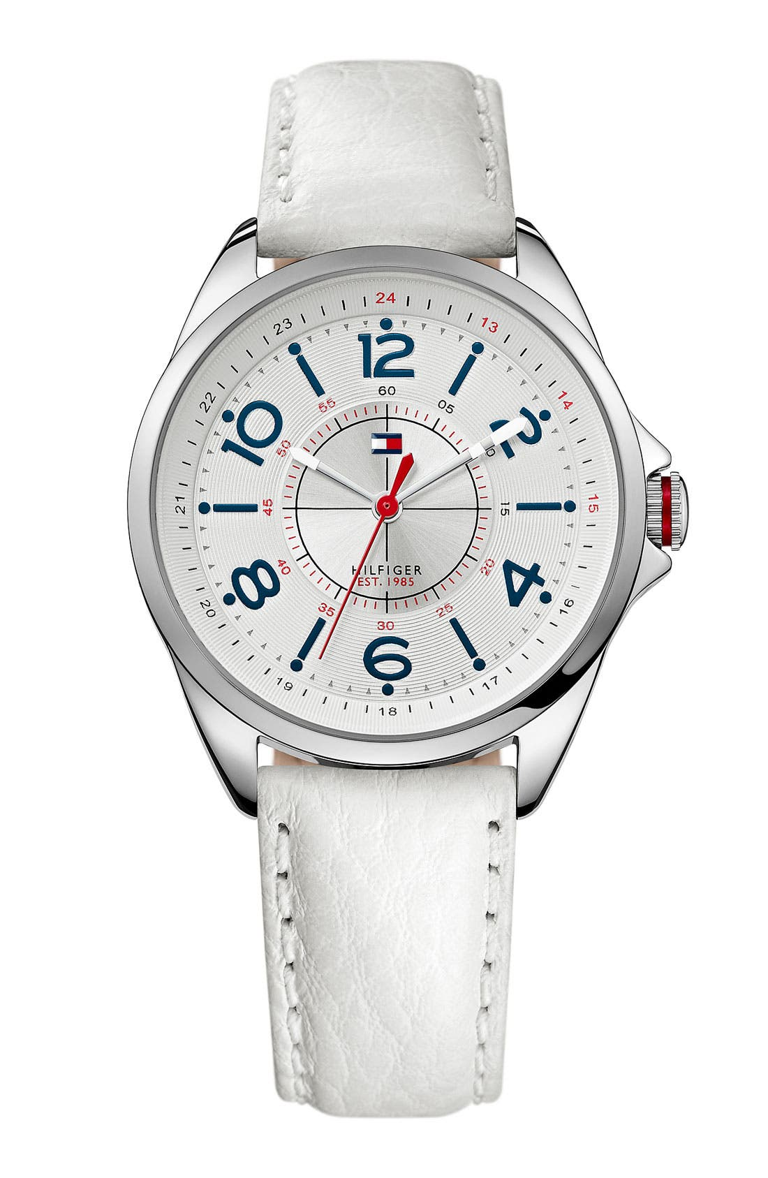 Main Image - Tommy Hilfiger Round Leather Strap Watch, 36mm