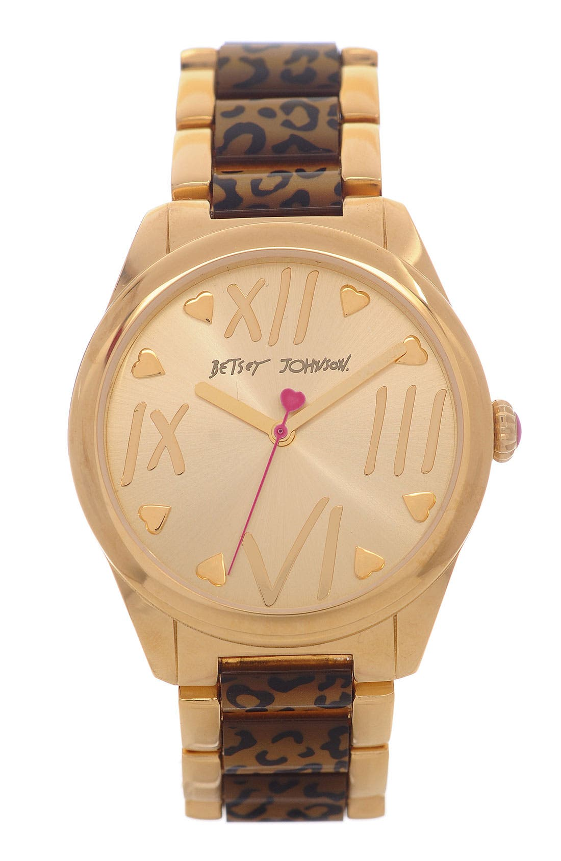 Main Image - Betsey Johnson Leopard Print Bracelet Watch, 43mm