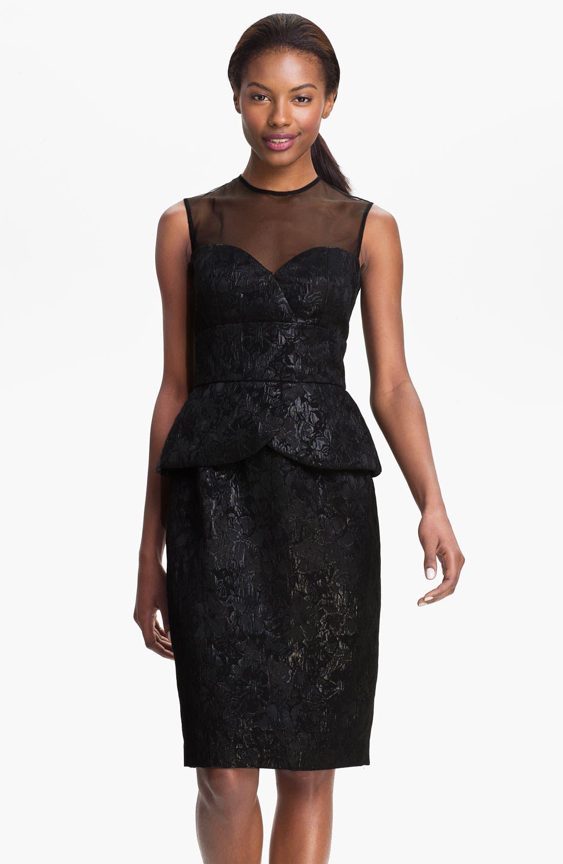 Main Image - Maggy London Sleeveless Illusion Yoke Peplum Dress