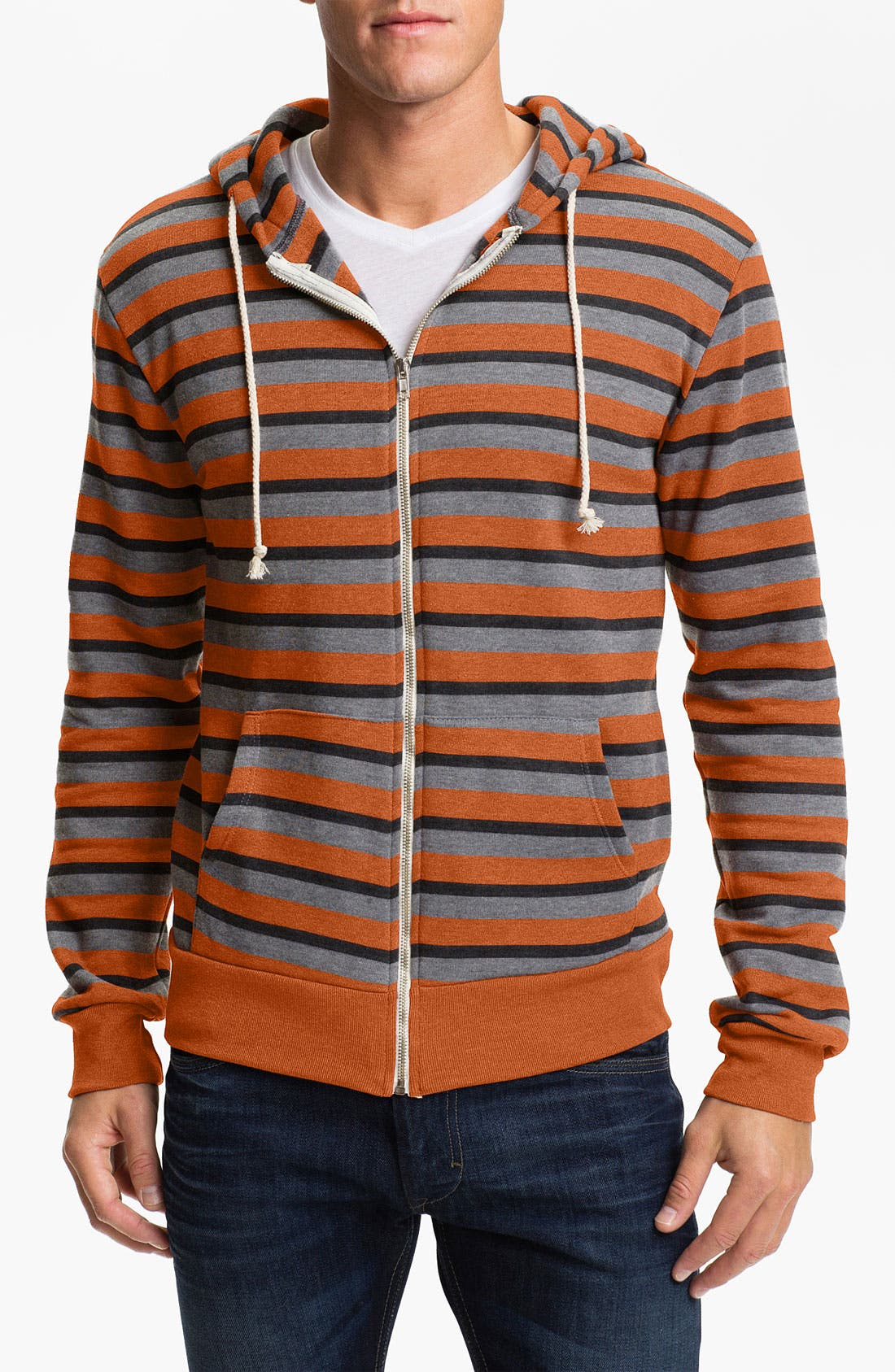 Alternate Image 1 Selected - Threads for Thought Triple Stripe Zip Hoodie