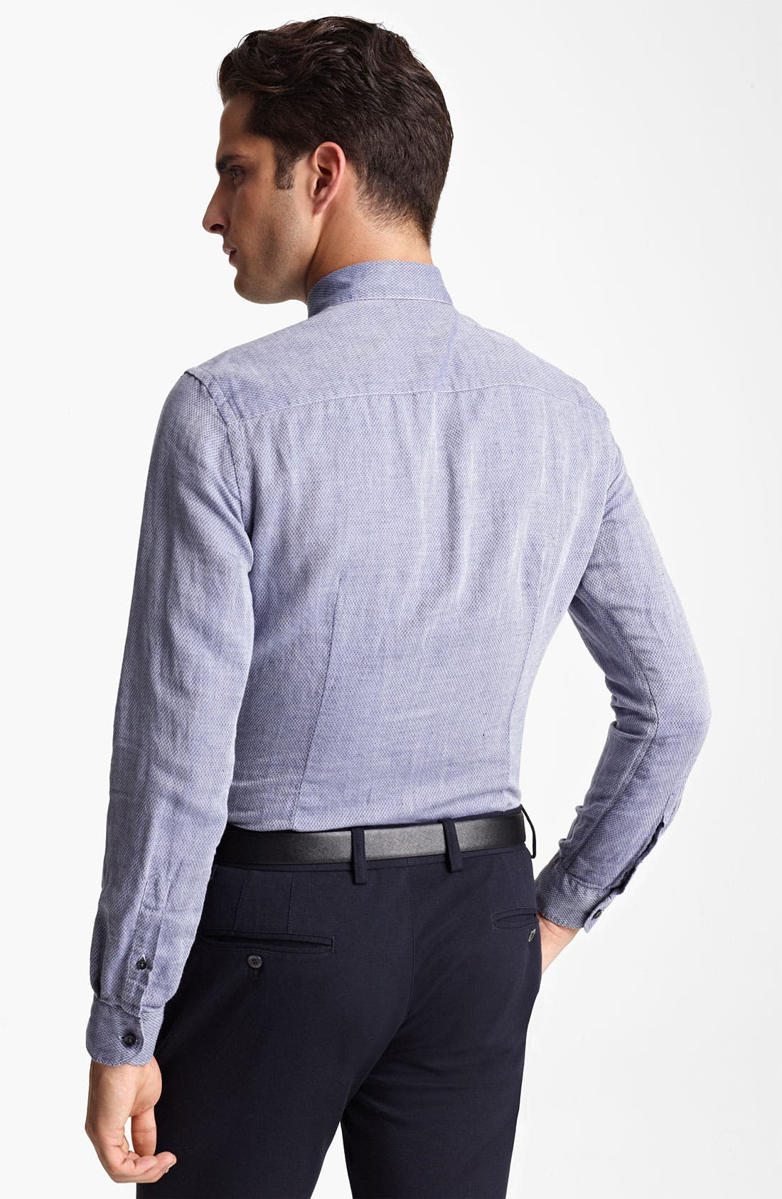Alternate Image 2  - Armani Collezioni Bird's Eye Cotton & Flax Sport Shirt
