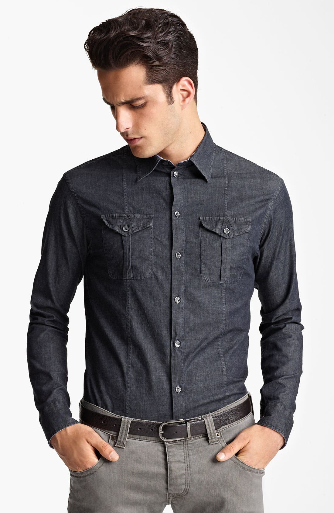 Alternate Image 1 Selected - Armani Collezioni Chambray Woven Shirt