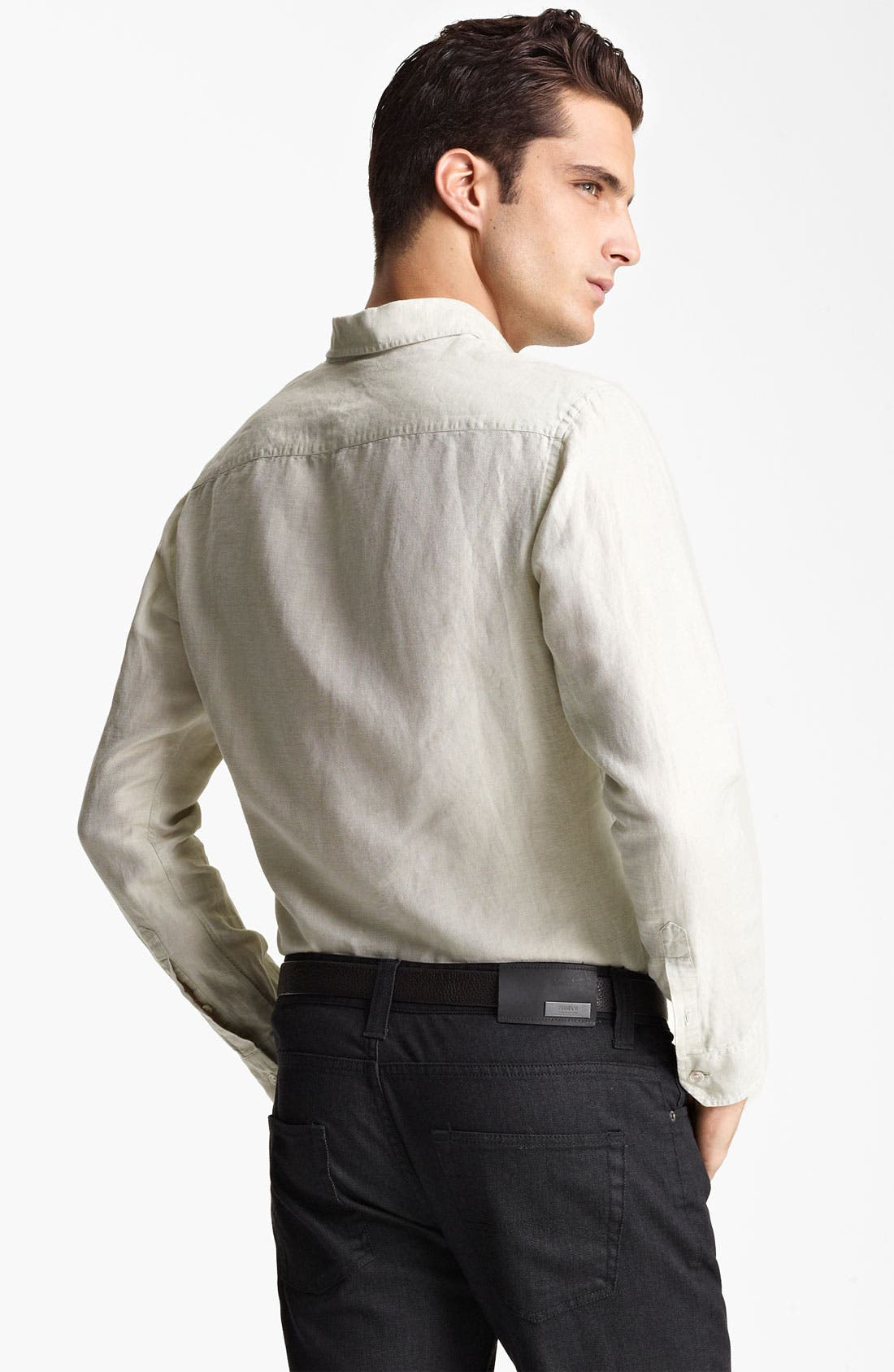 Alternate Image 2  - Armani Collezioni Linen & Cotton Sport Shirt