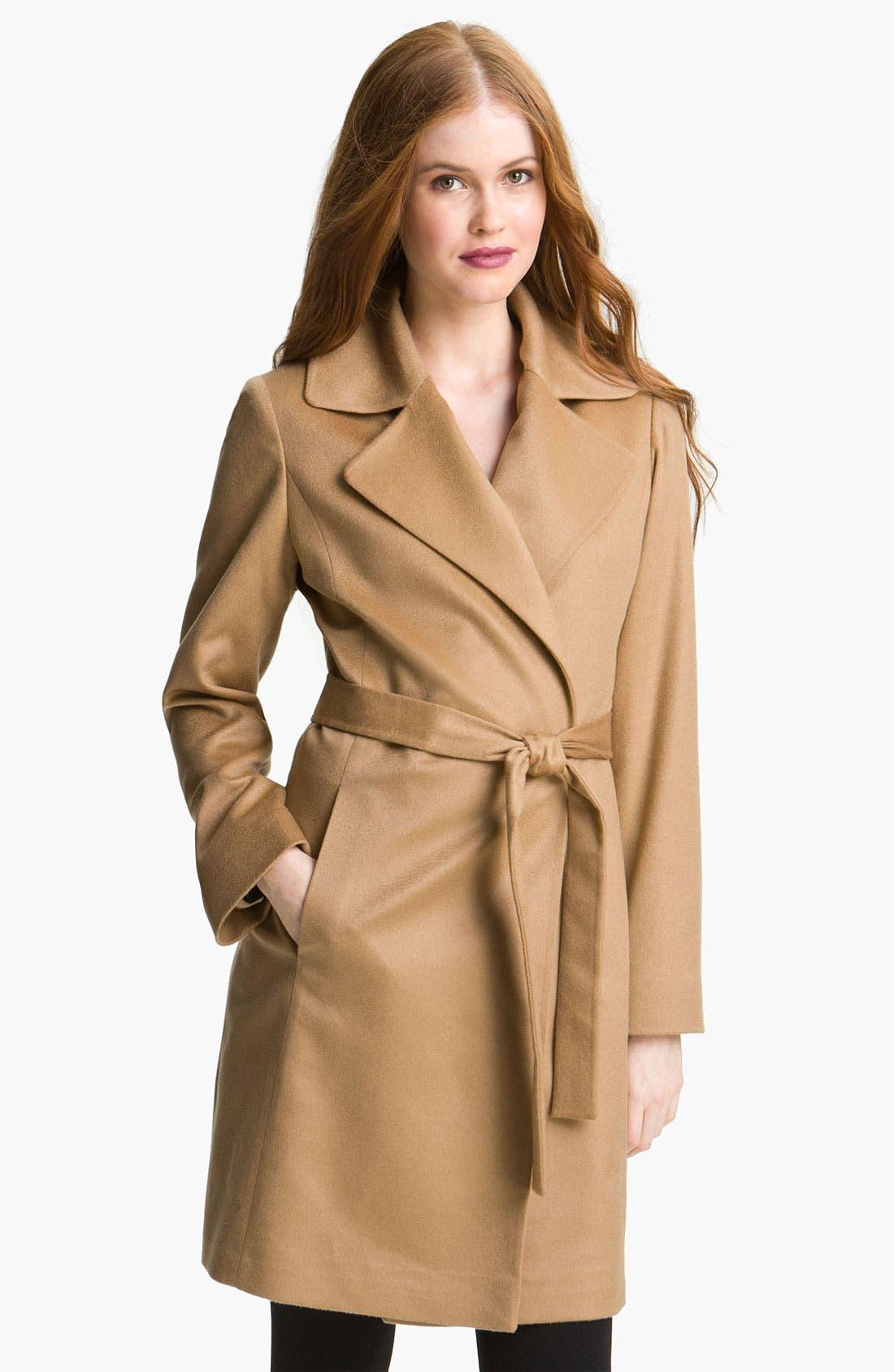 Main Image - Fleurette Lightweight Cashmere Wrap Coat (Petite)
