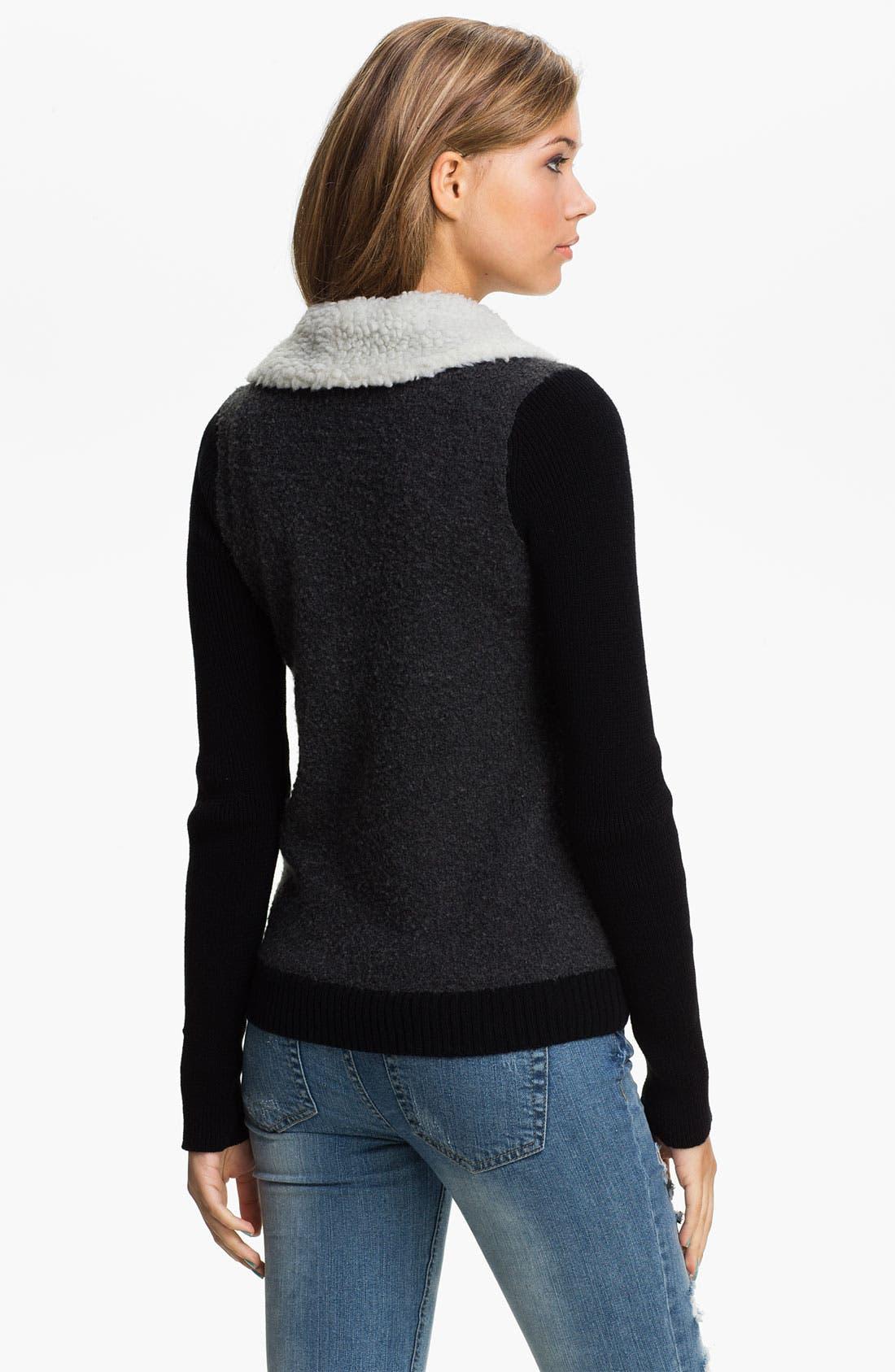 Alternate Image 2  - BP. Faux Shearling Collar Sweater Bomber (Juniors)