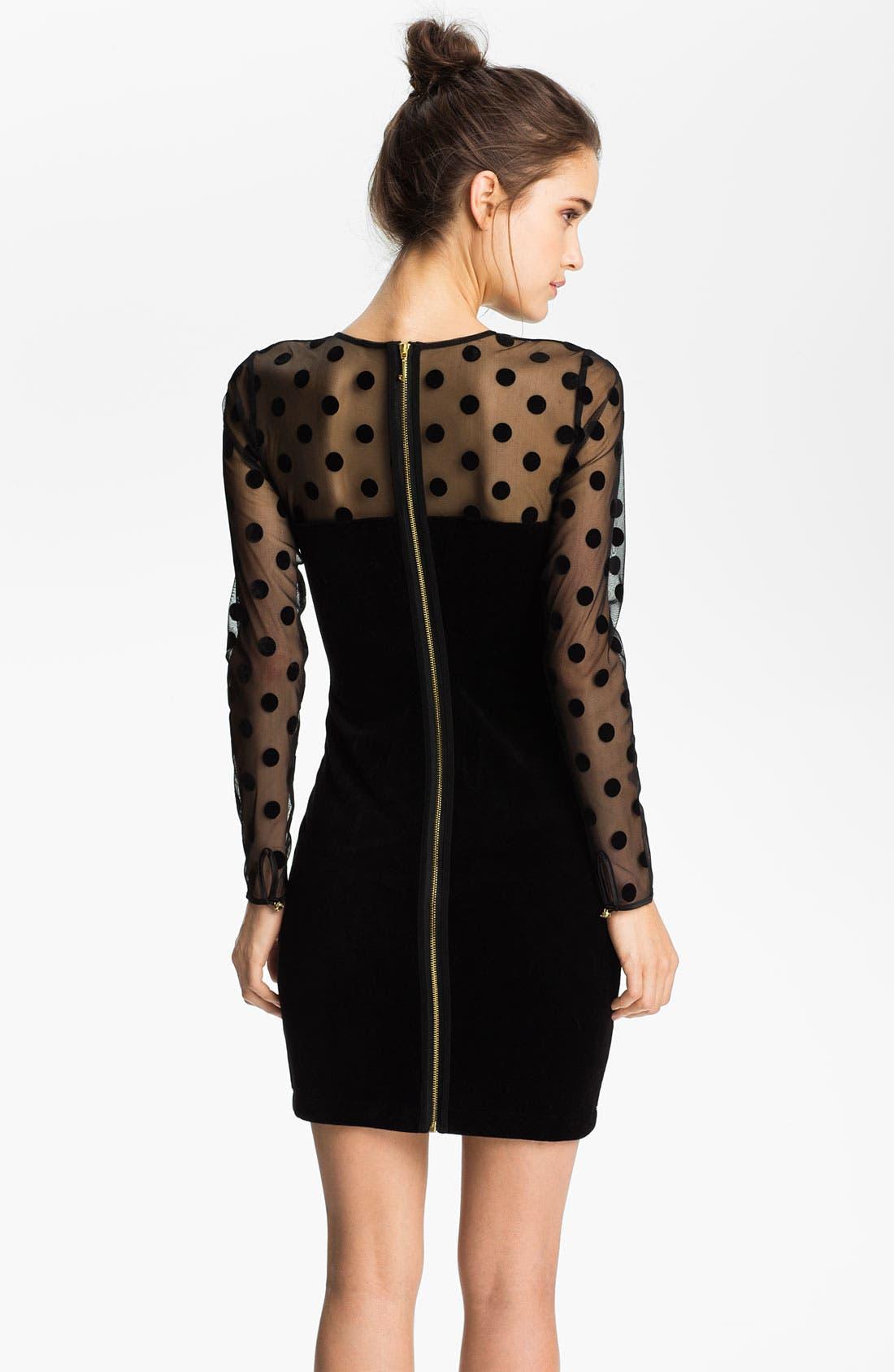 Alternate Image 2  - Juicy Couture Sheer Polka Dot & Velvet Dress