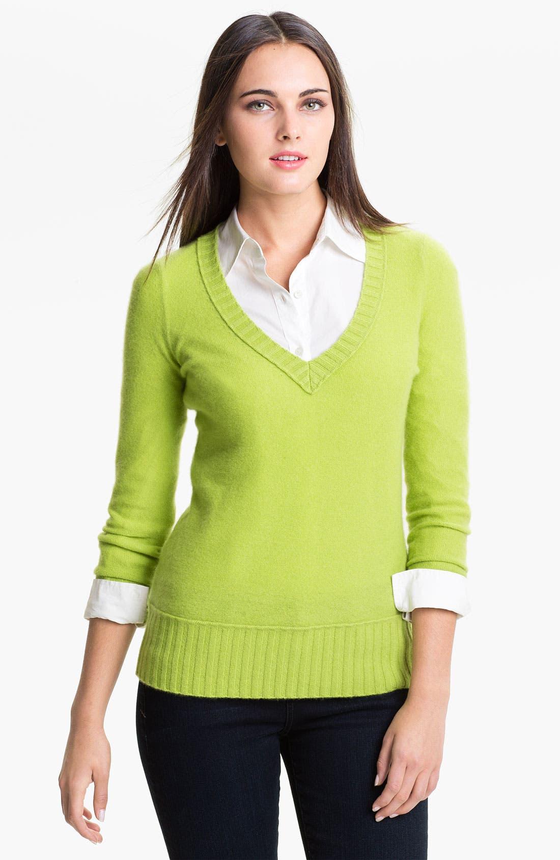 Alternate Image 1 Selected - Halogen® V-Neck Cashmere Sweater (Online Exclusive)
