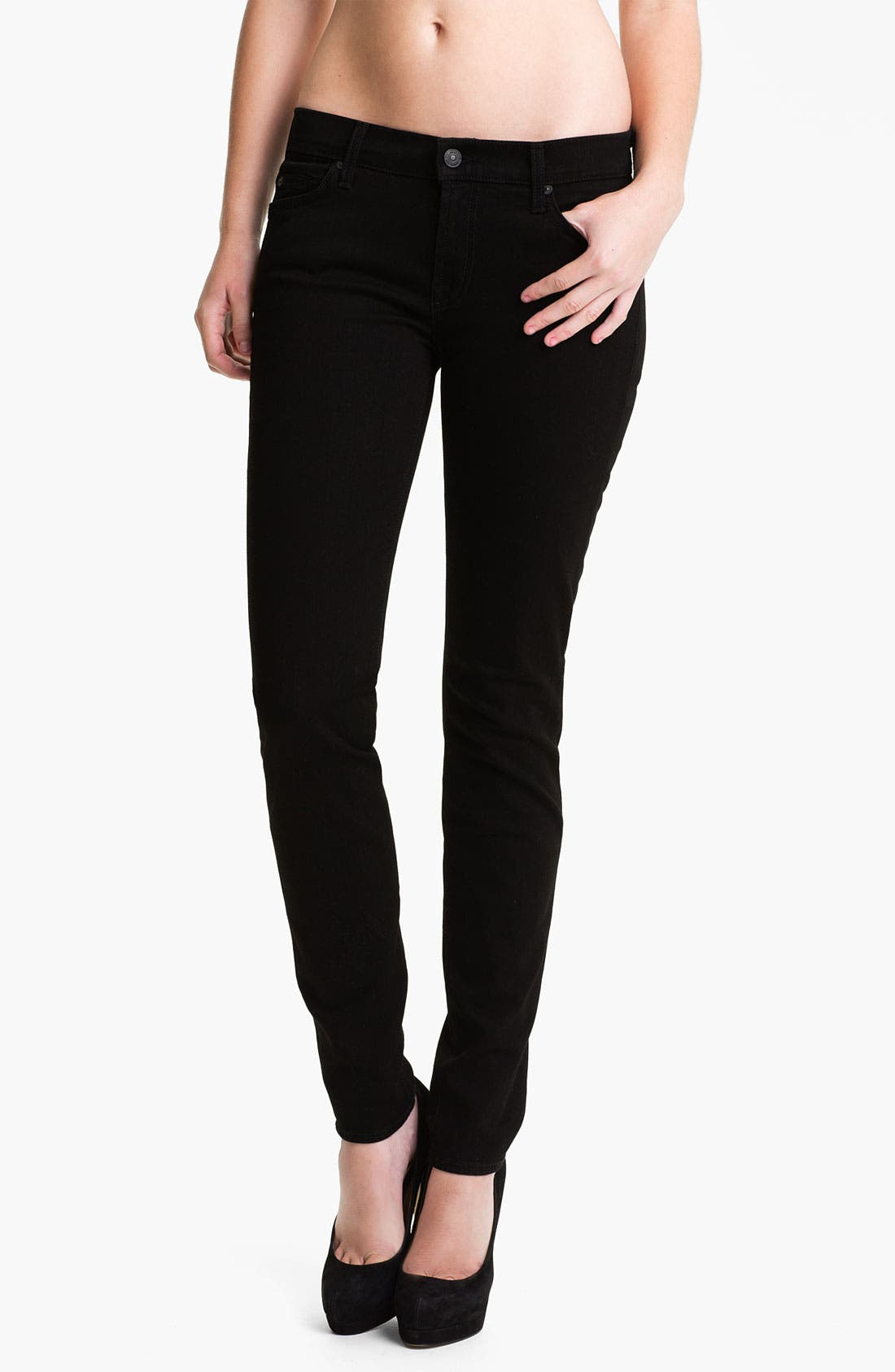 Main Image - 7 For All Mankind® 'The Skinny' Stretch Jeans (Clean Black)