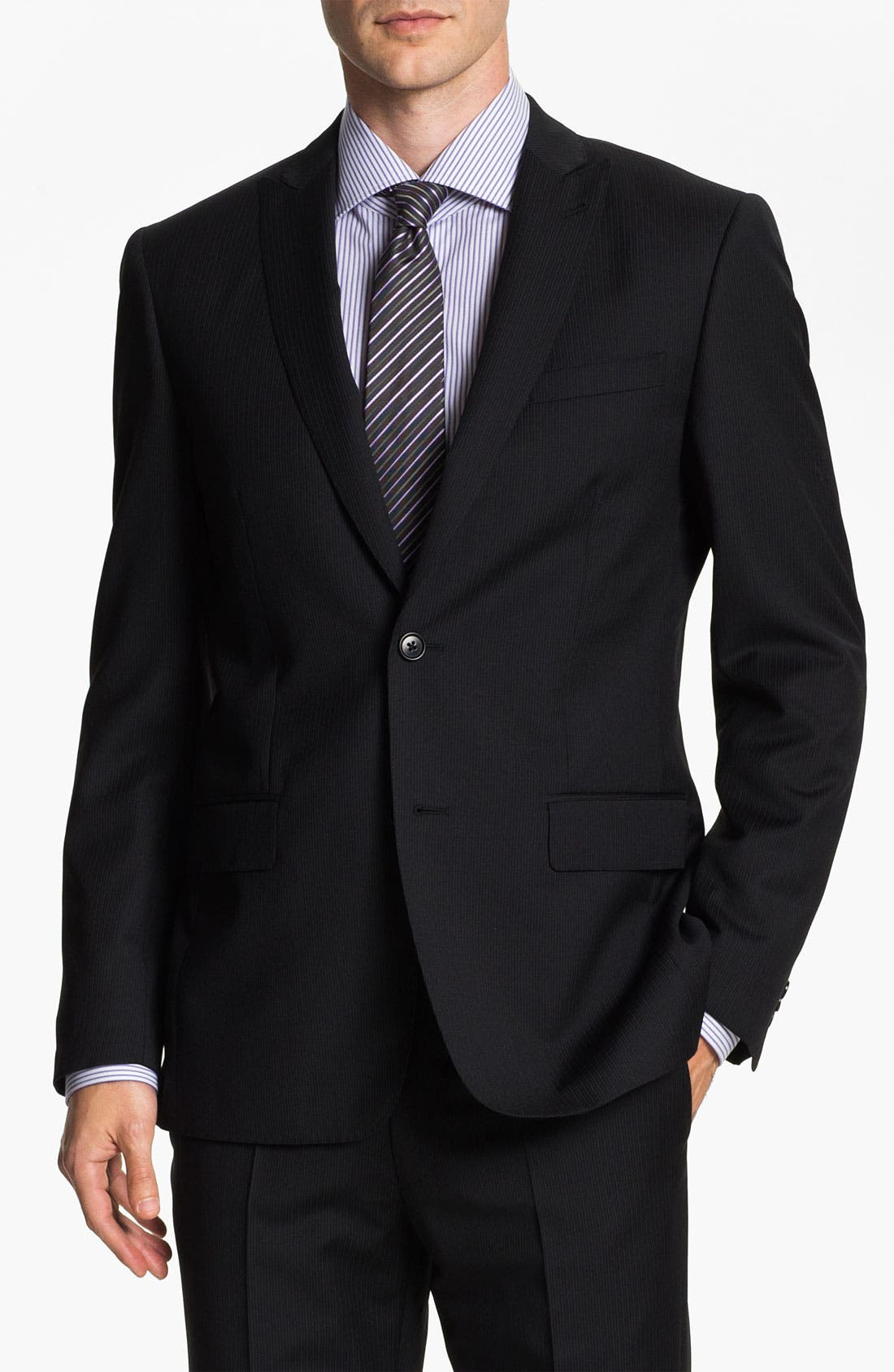 Main Image - John Varvatos Star USA 'Berkley' Trim Fit Stripe Suit