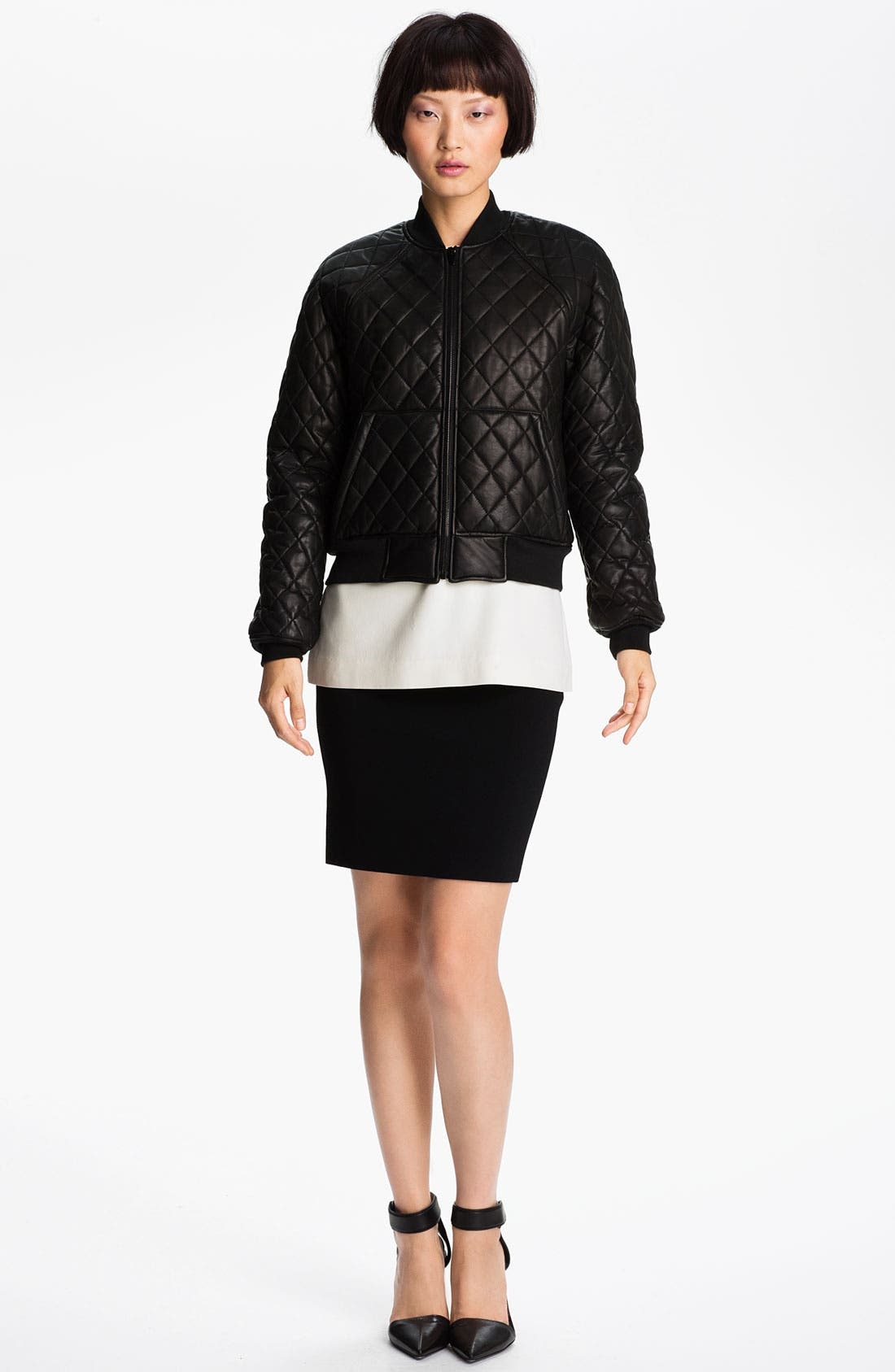 Alternate Image 3  - Alexander Wang Quilted Leather Bomber Jacket