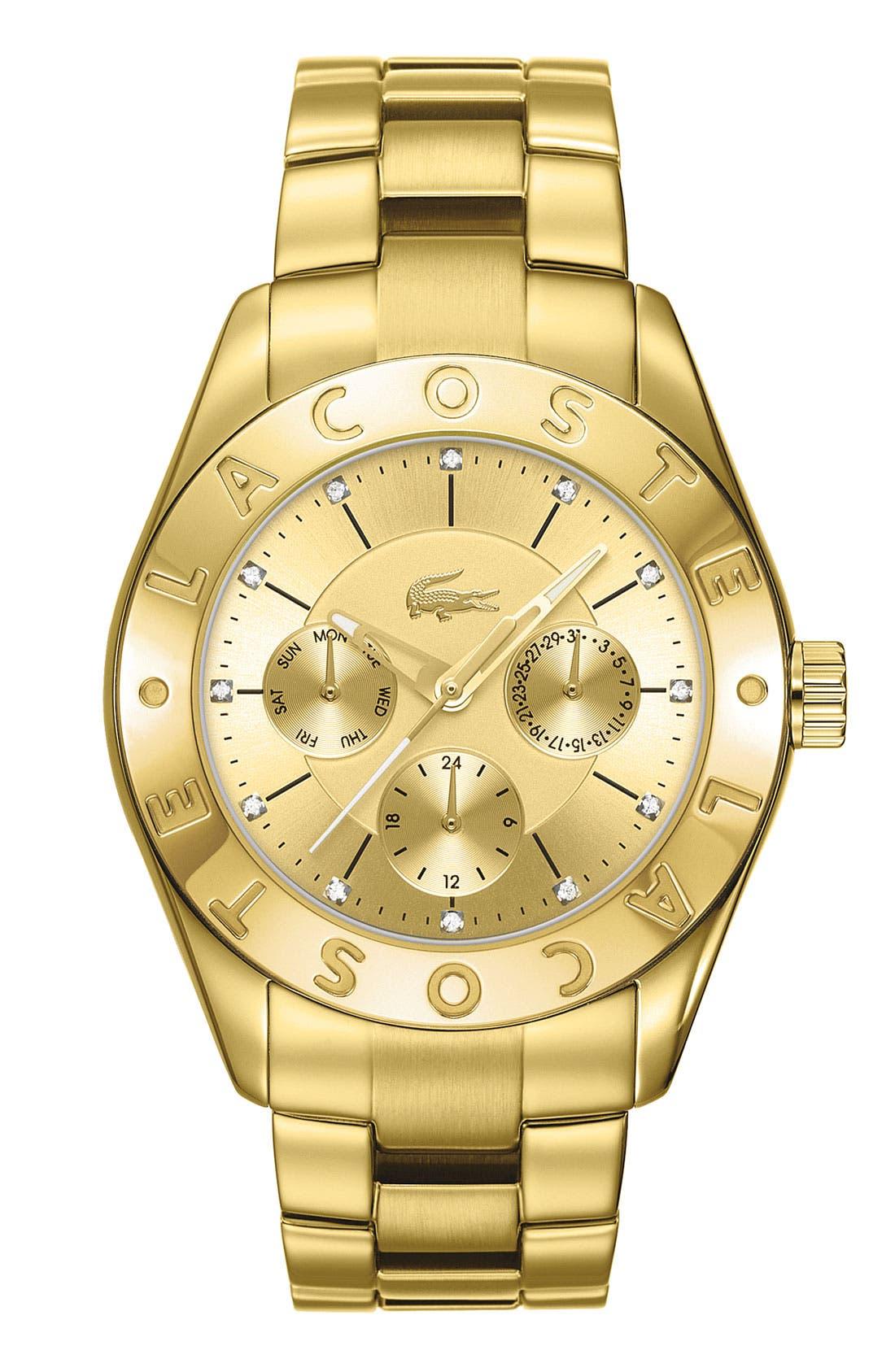 Alternate Image 1 Selected - Lacoste 'Biarritz' Logo Bezel Bracelet Watch, 38mm