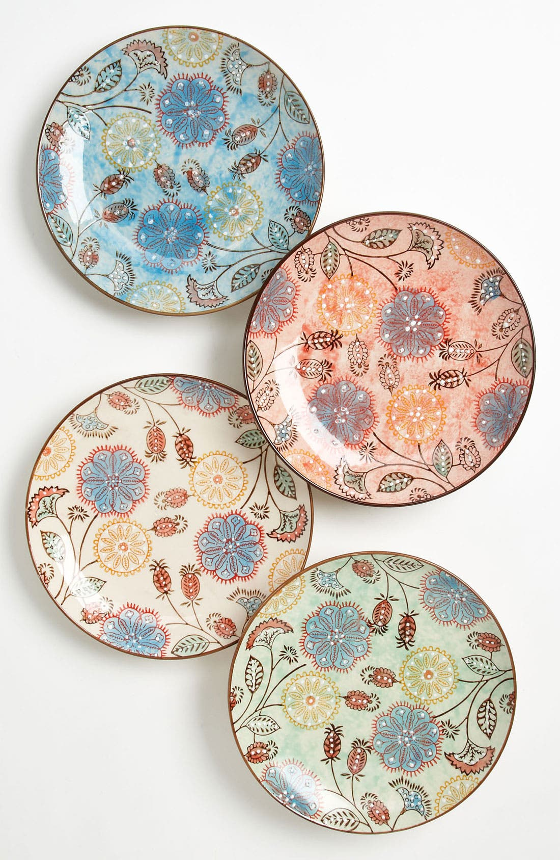 Main Image - Hand Painted Floral Plates (Set of 4)
