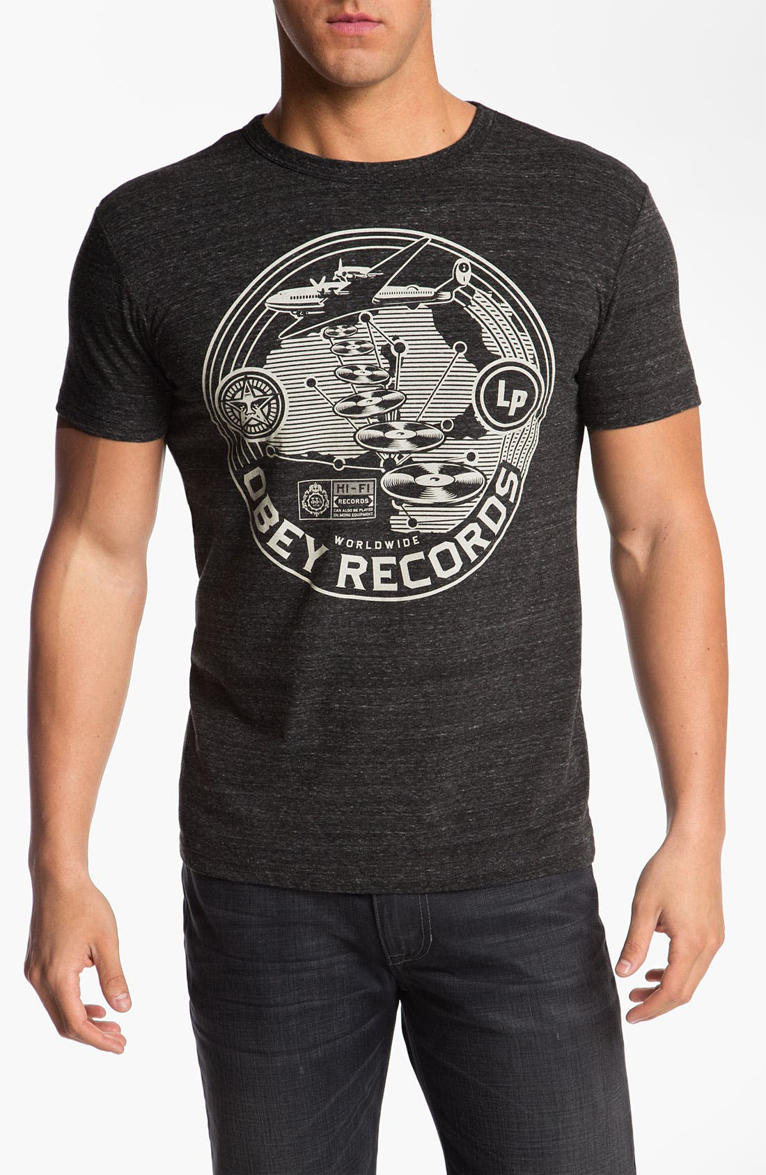 Main Image - Obey 'Hi-Fi Records' Graphic Crewneck T-Shirt