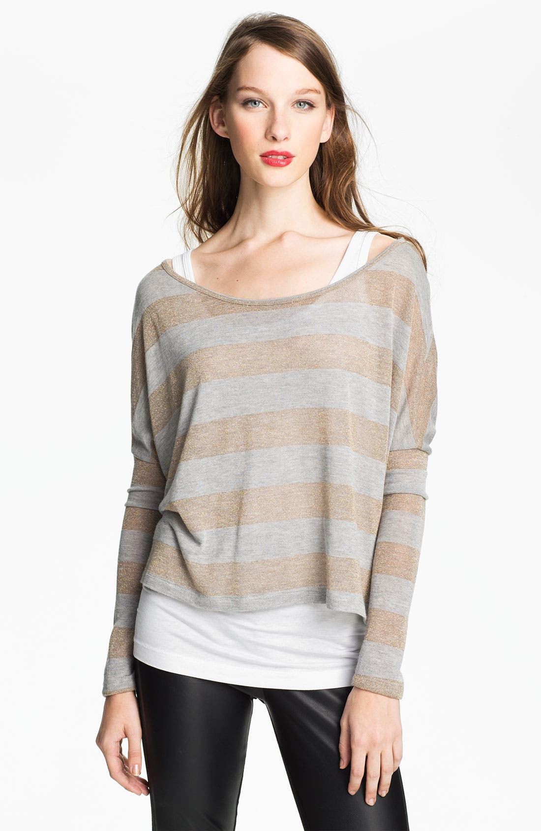 Alternate Image 1 Selected - Two by Vince Camuto Metallic Stripe Sweater