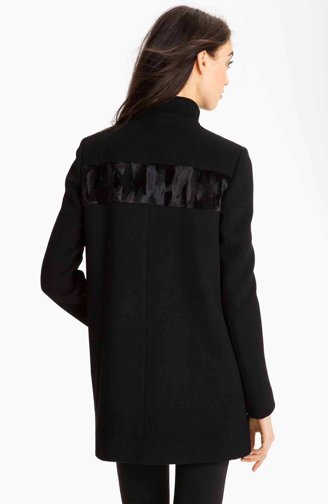 Alternate Image 2  - Elie Tahari Wool Coat with Faux Fur Yoke (Online Exclusive)