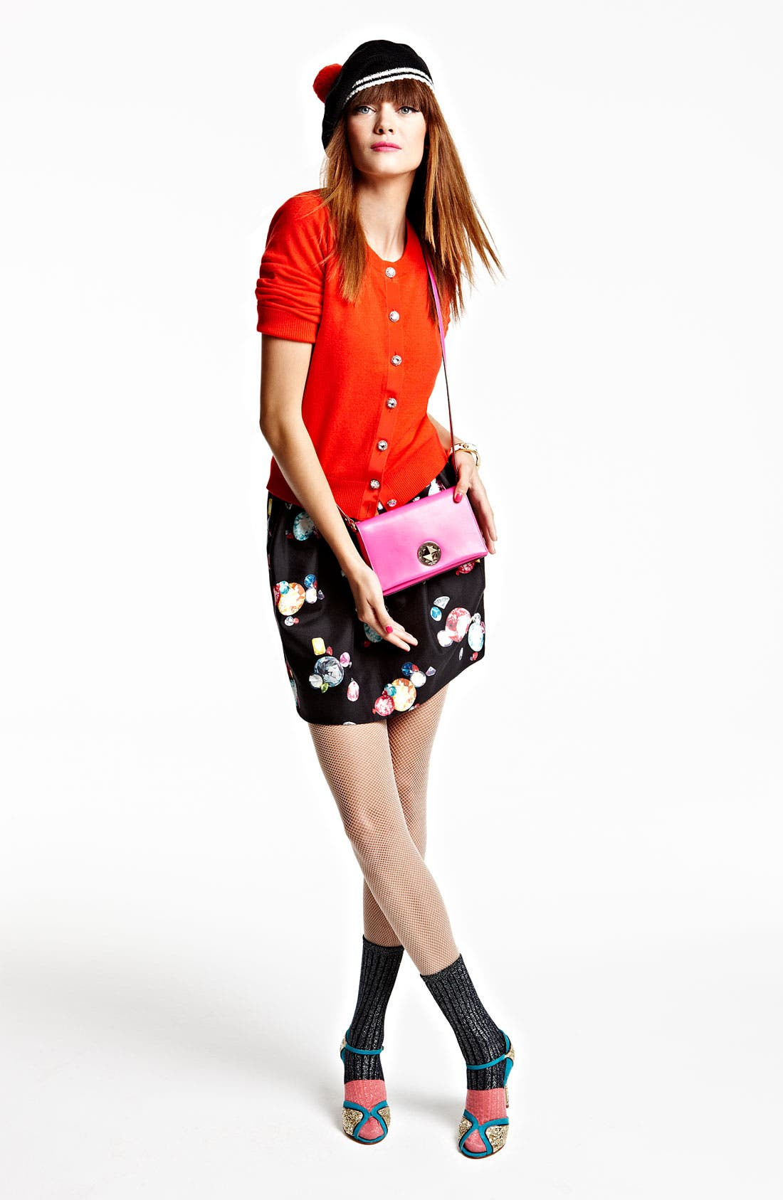 Alternate Image 1 Selected - kate spade new york beret, cardigan, skirt & crossbody bag