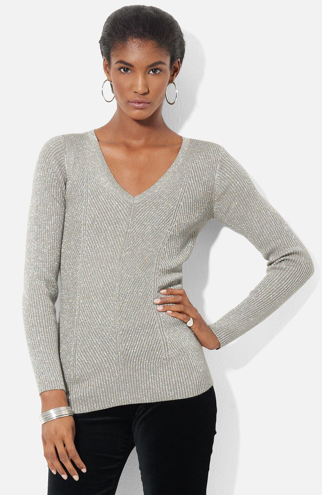 Alternate Image 1 Selected - Lauren Ralph Lauren V-Neck Metallic Knit Sweater (Petite)