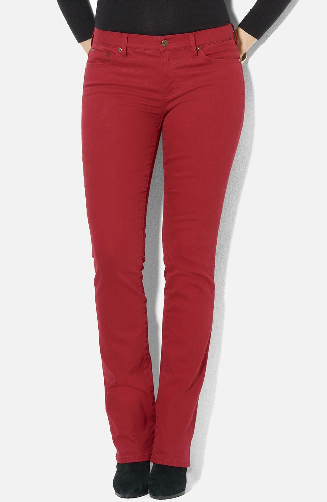 Main Image - Lauren Ralph Lauren Slim Straight Leg Colored Jeans (Petite) (Online Exclusive)