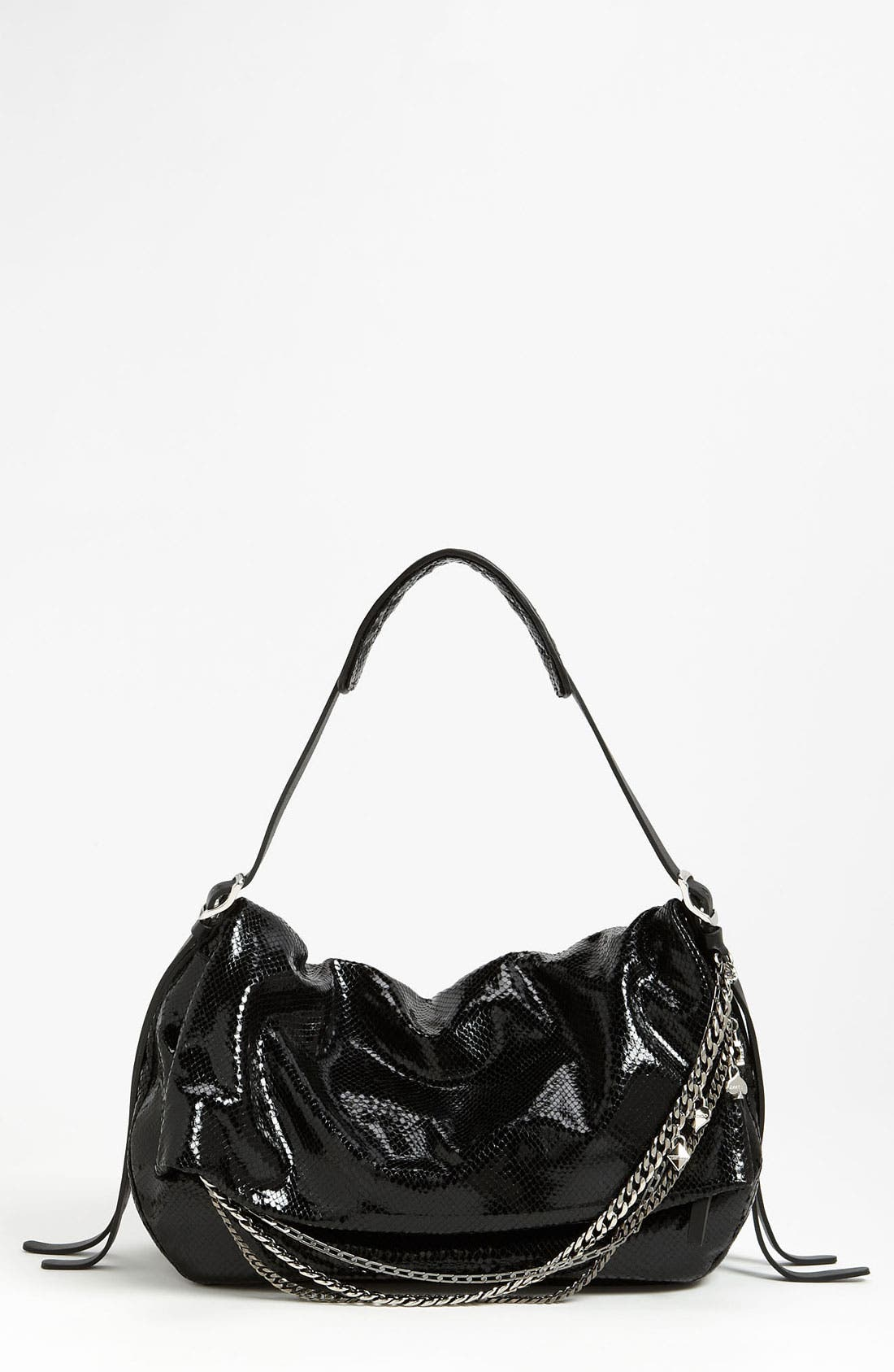 Alternate Image 1 Selected - Jimmy Choo 'Biker' Snake Embossed Leather Shoulder Bag