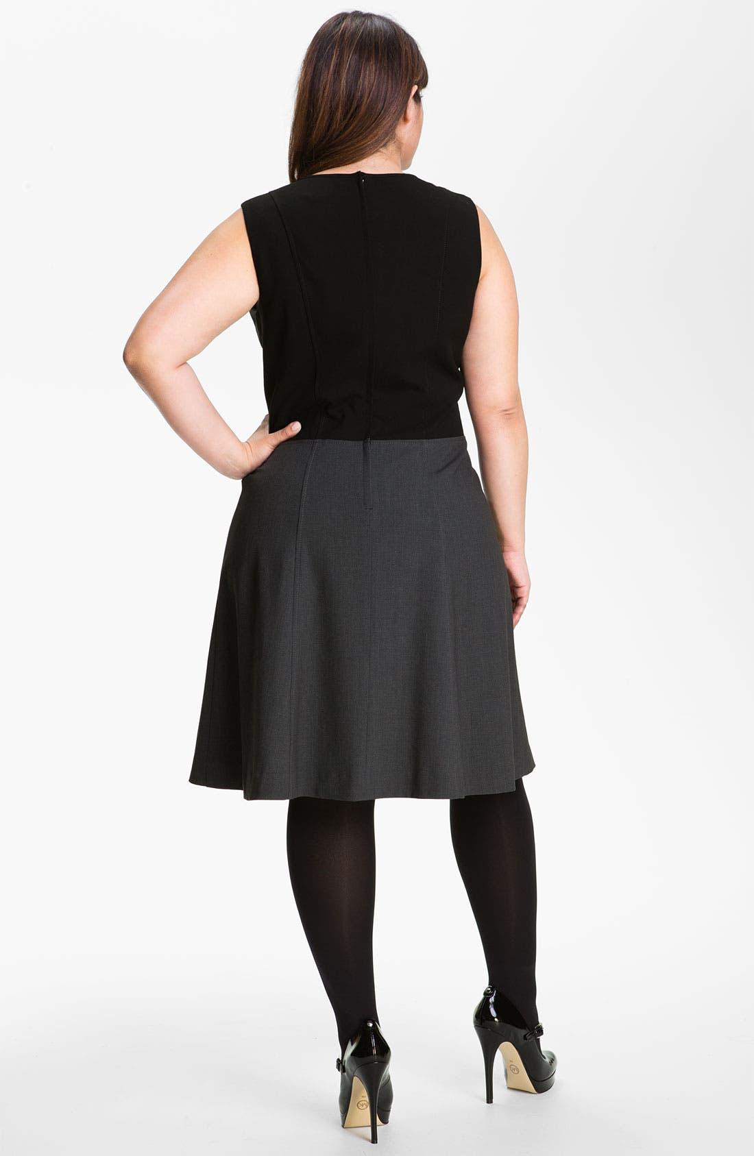 Alternate Image 2  - Calvin Klein Sleeveless A-Line Dress (Plus)