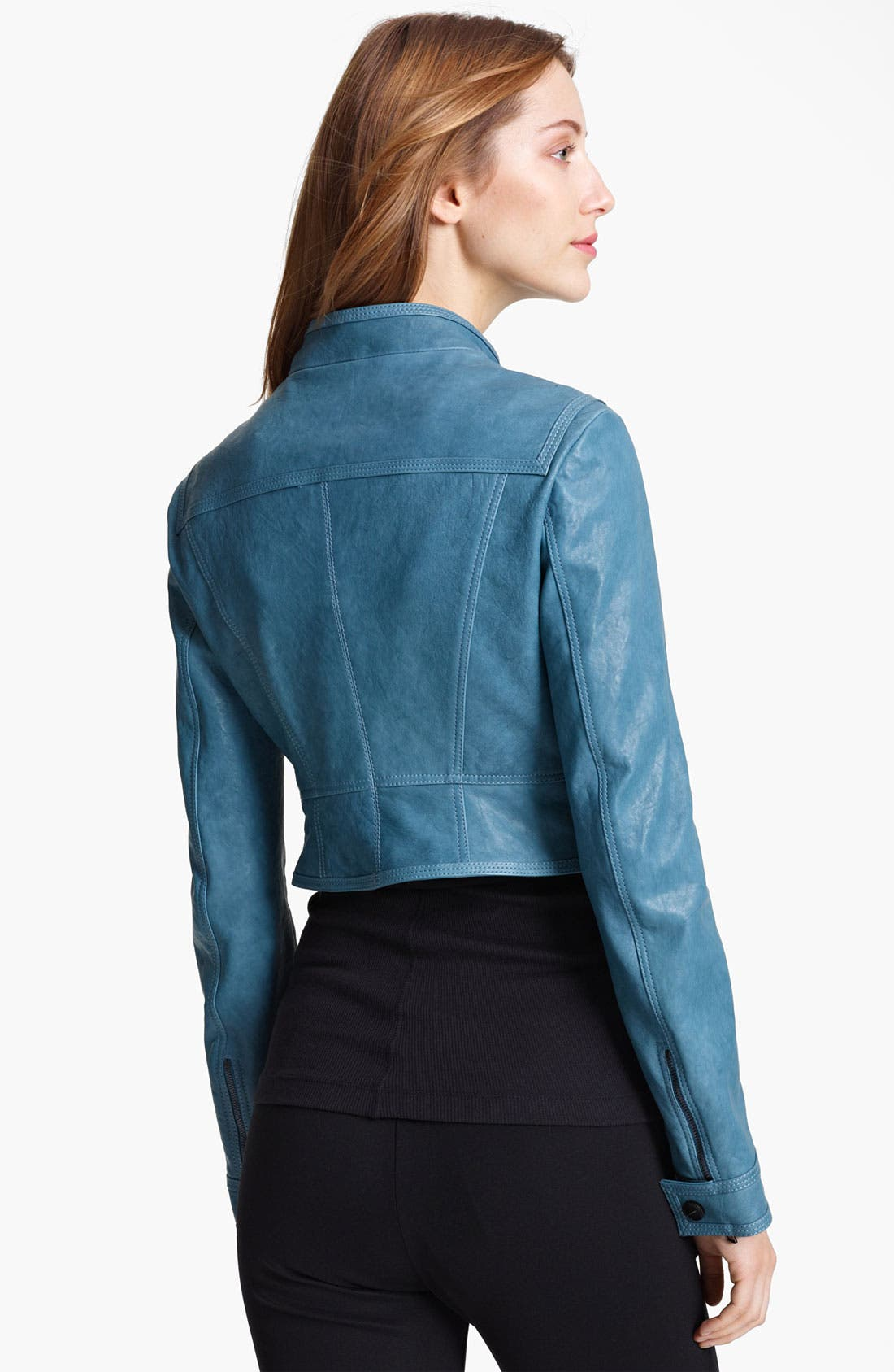 Alternate Image 2  - Burberry London Cargo Pocket Crop Leather Jacket