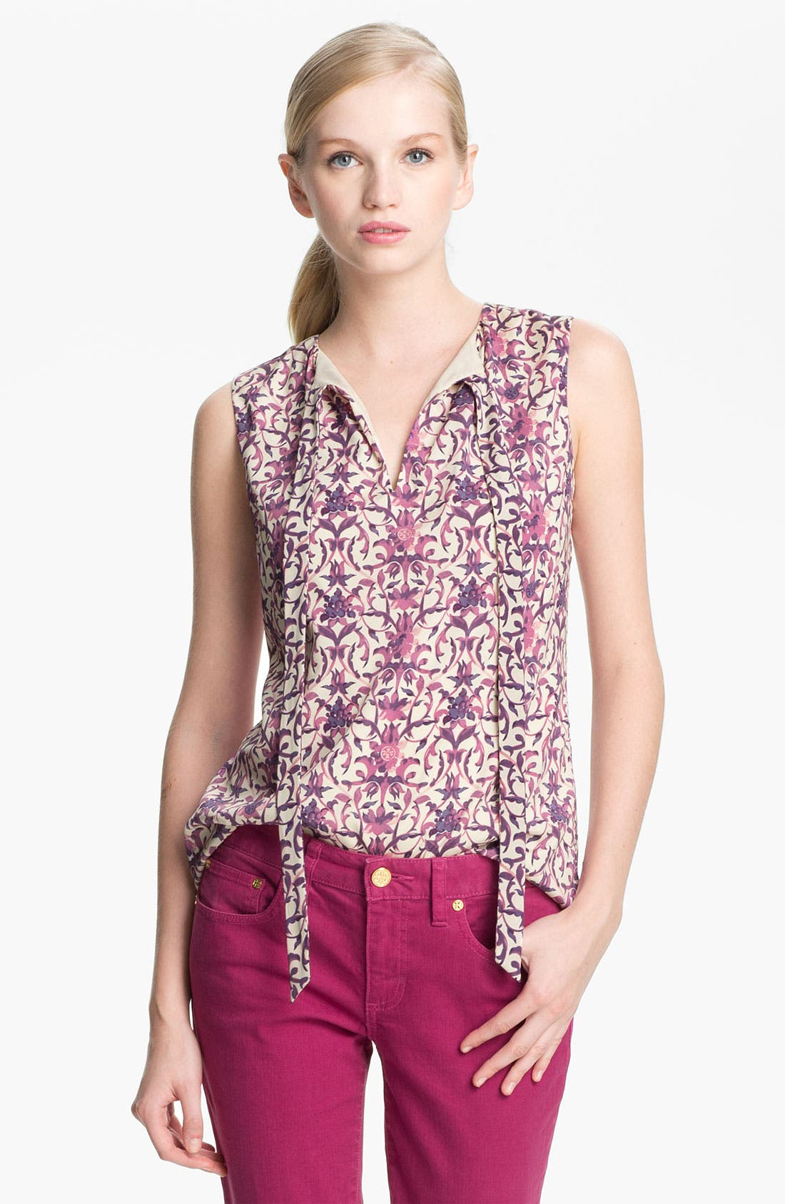 Alternate Image 1 Selected - Tory Burch 'Tanya' Stretch Silk Top