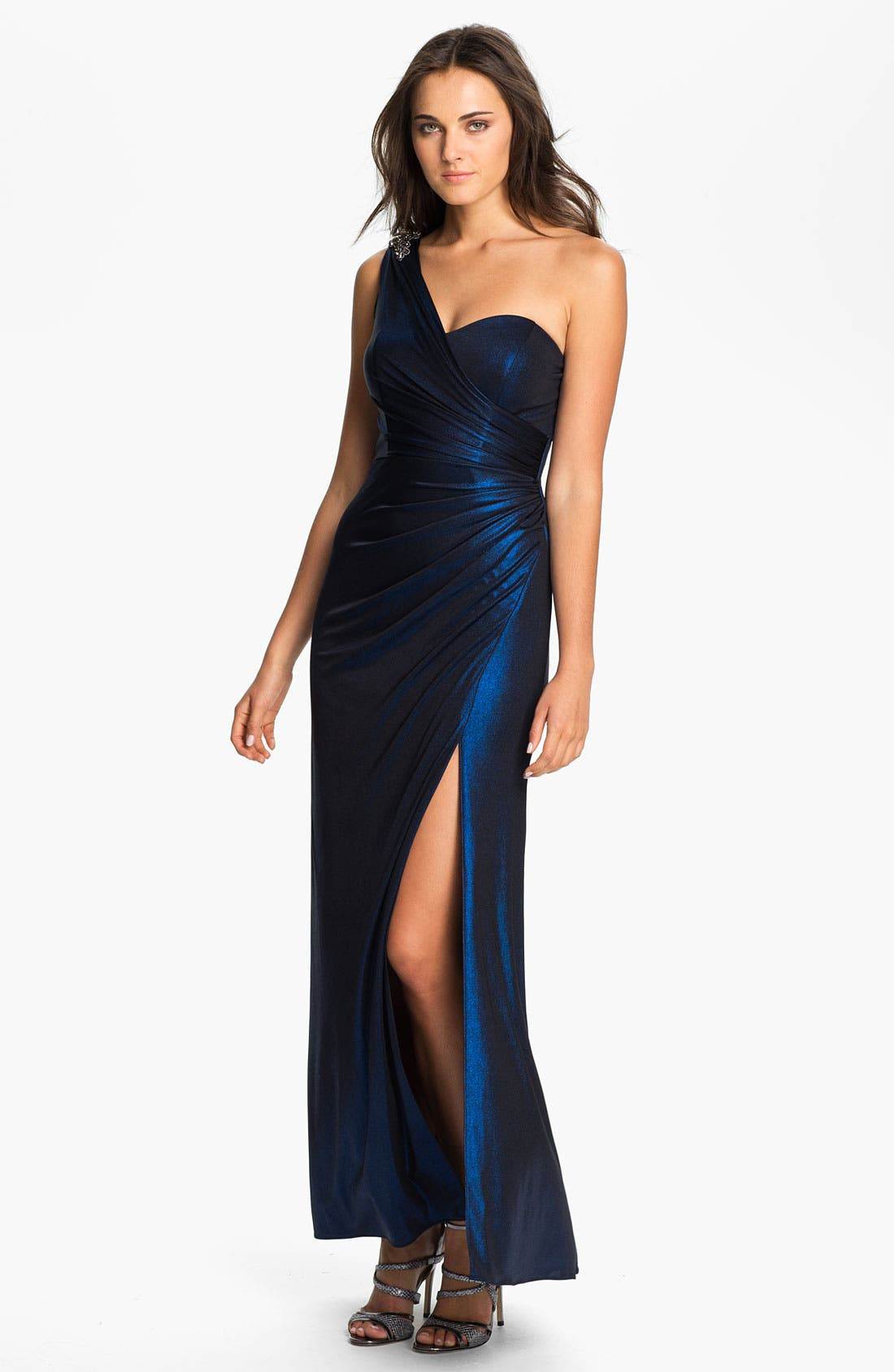 Main Image - Xscape One Shoulder Ruched Jersey Gown